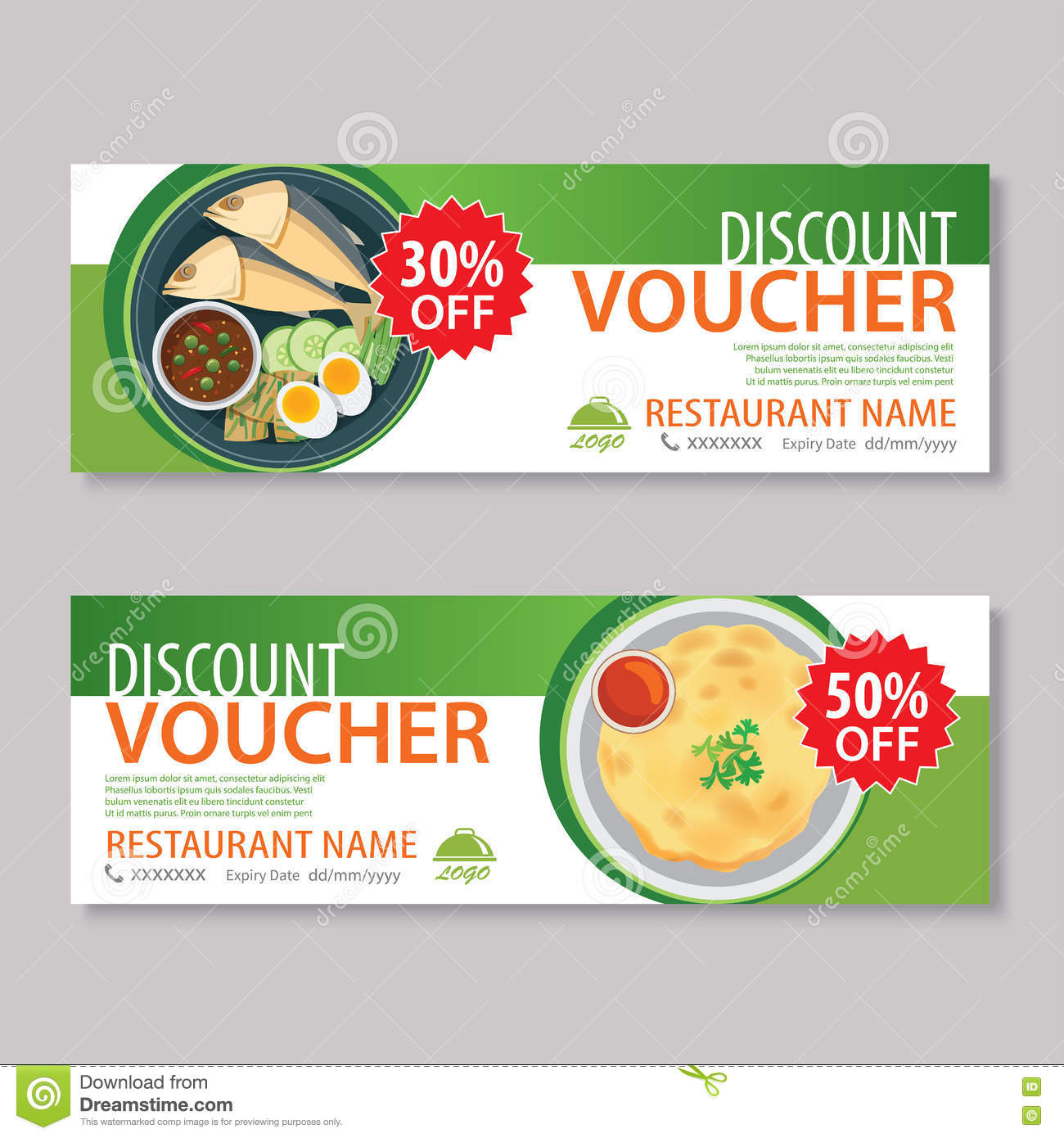 discount voucher template with thai food flat design stock vector image 75786352. Black Bedroom Furniture Sets. Home Design Ideas