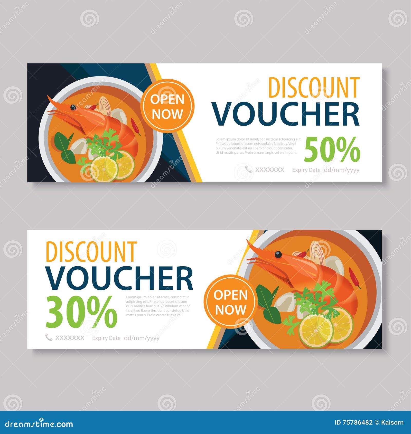 Superior Discount Voucher Template With Thai Food Flat Design. Lunch, Breakfast.