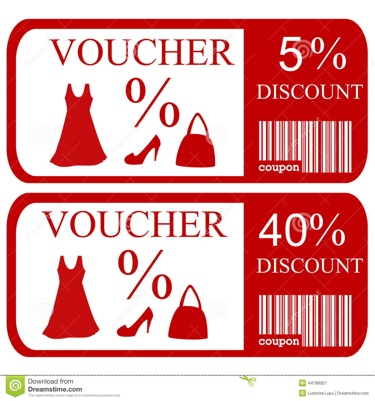 5 And 40 Discount Vouchers Stock Vector Image 44788057
