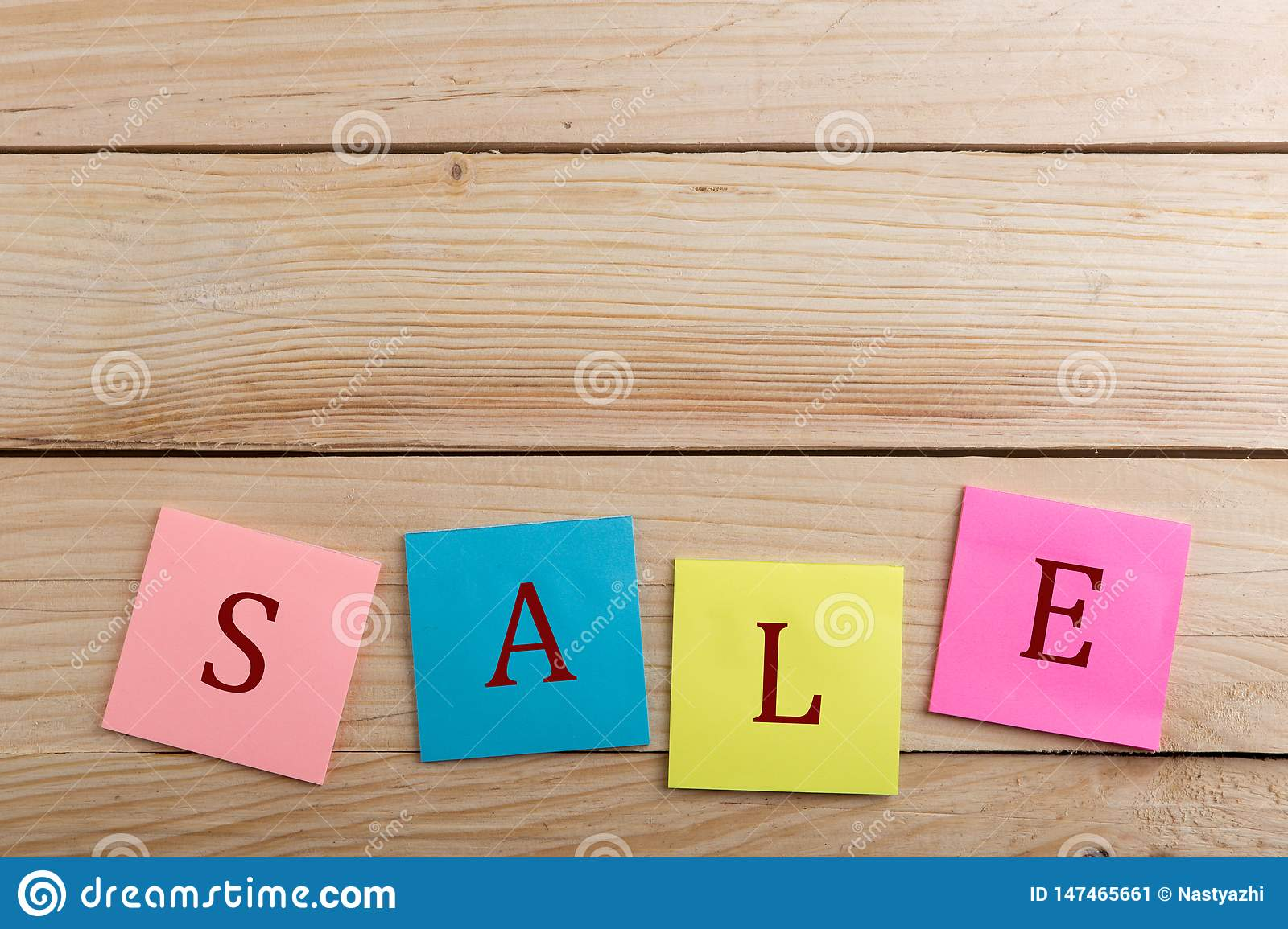 DiscountTags - Many colorful sticky note with text Sale