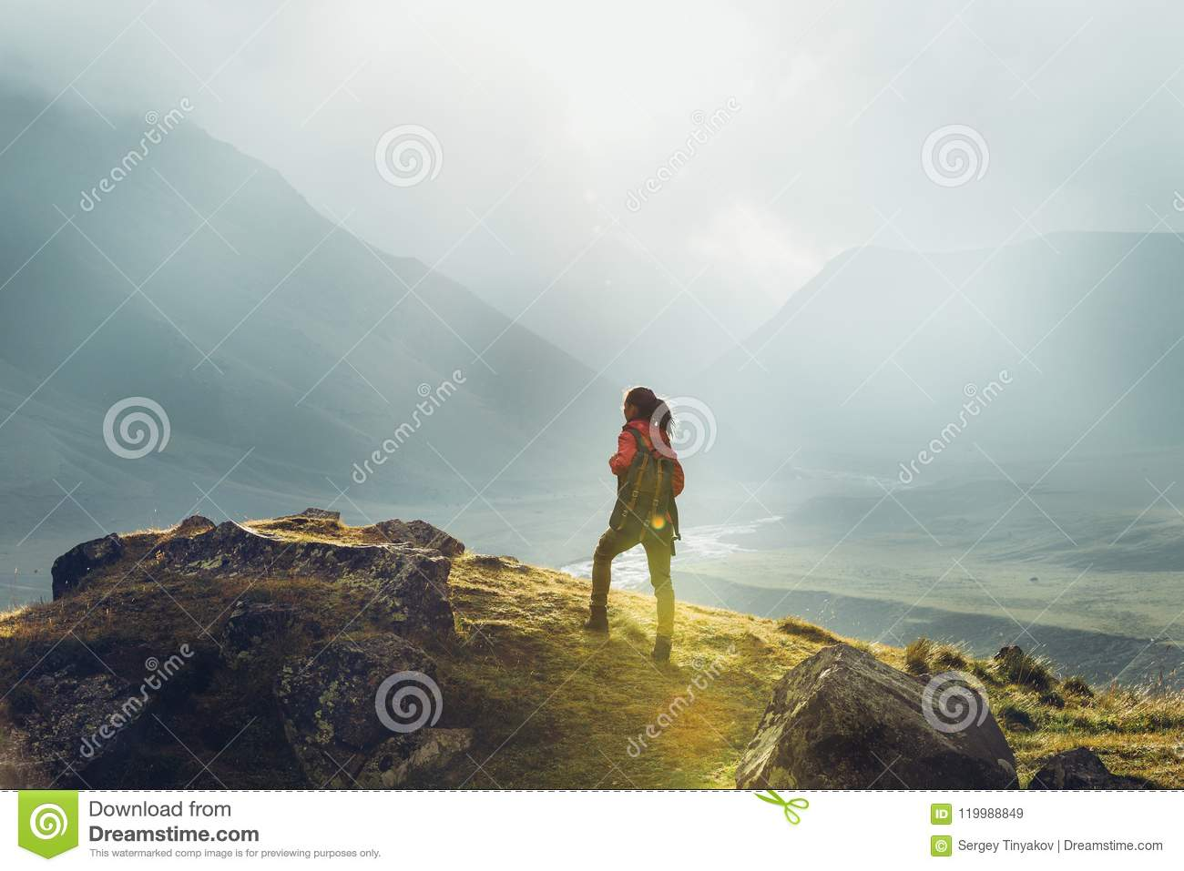 Discovery Travel Destination Holiday Concept. Hiker Woman With B