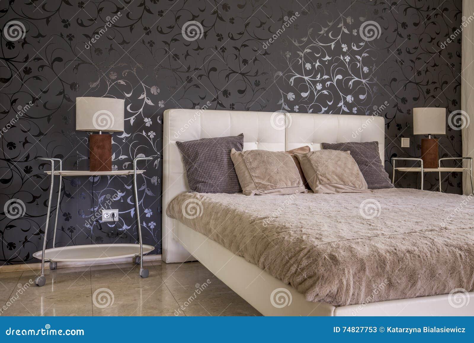 Discrete Elegance Of Dark Bedroom Decor Stock Image Image Of
