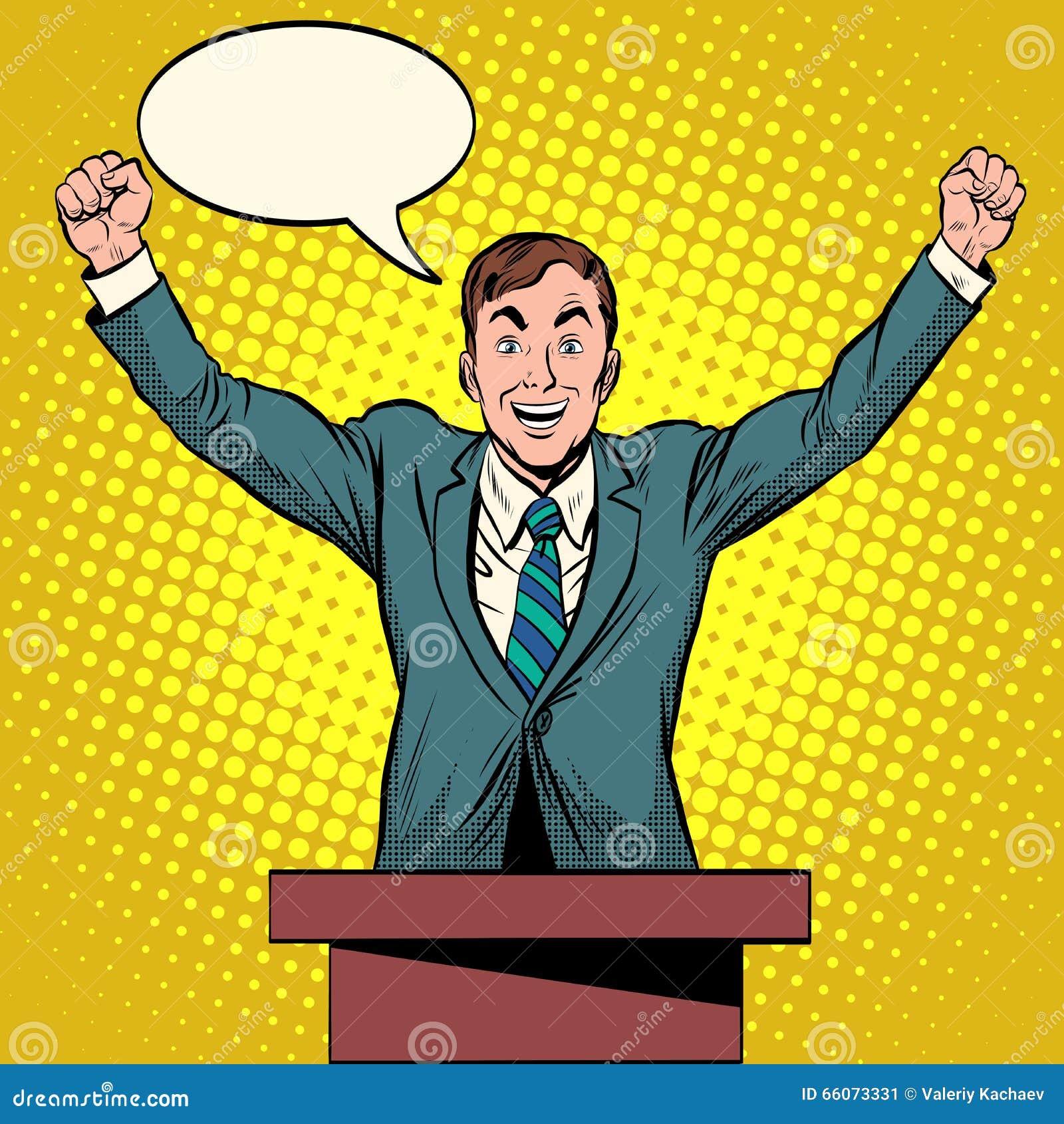 discurso del candidato del presidente en el podio ilustración del