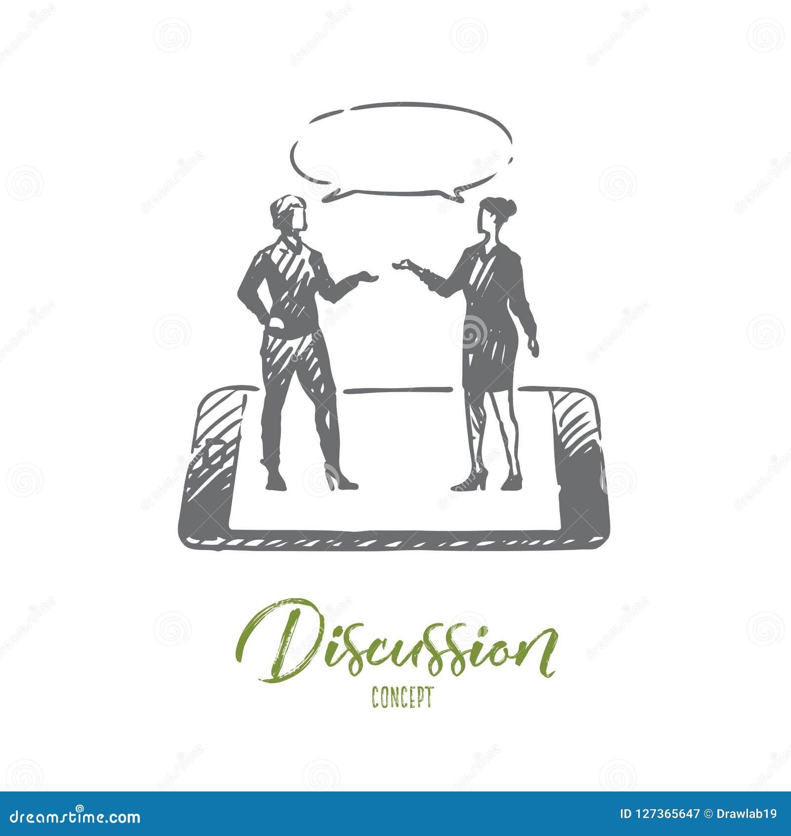 Discussão, conversa, conversação, diálogo, conceito da pessoa Vetor isolado tirado mão