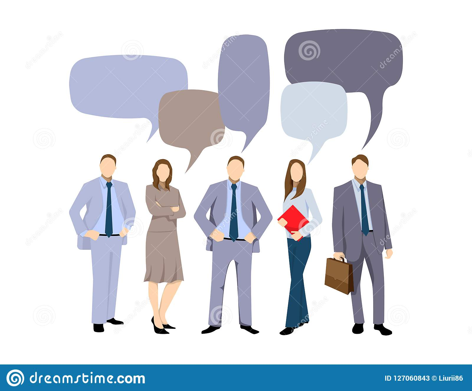 A discussão do negócio, homens de negócio discute a rede social, notícia, redes sociais, bate-papo, bolhas do discurso do diálogo