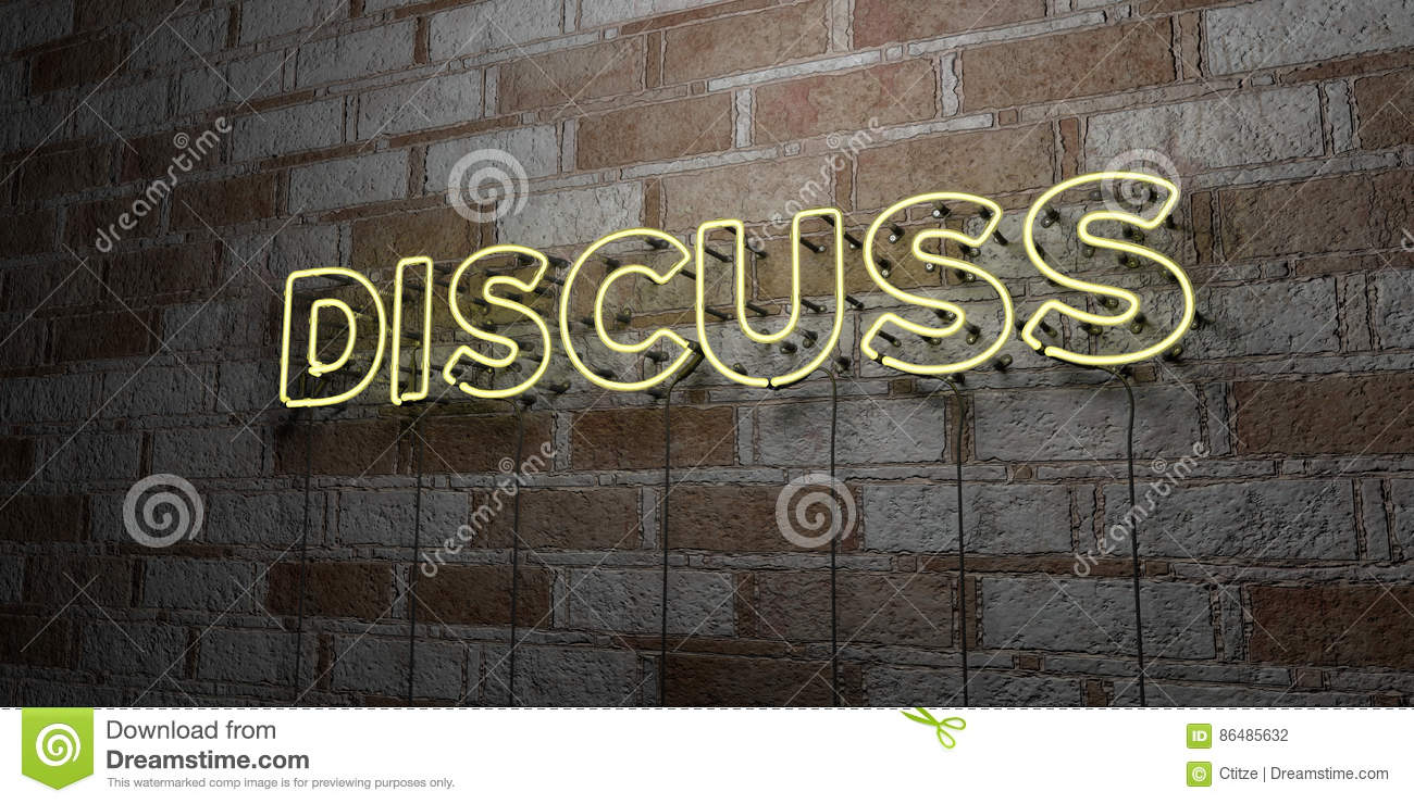 DISCUSS - Glowing Neon Sign on stonework wall - 3D rendered royalty free stock illustration