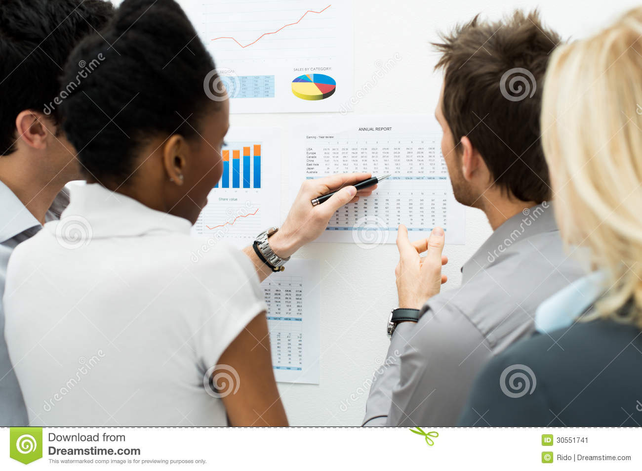 Discussing Annual Report Stock Image - Image: 30551741