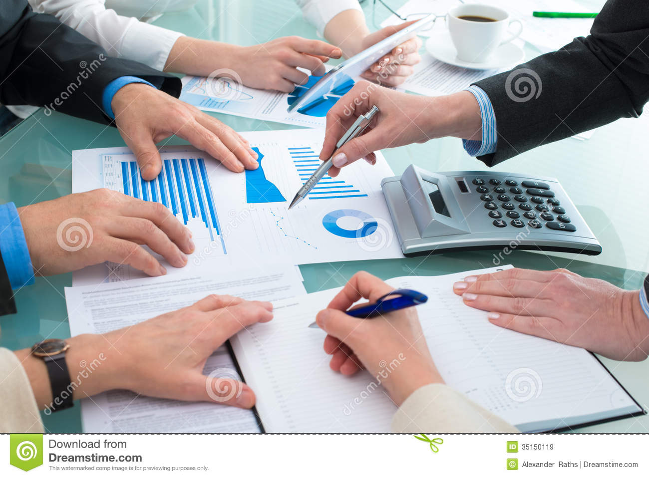Discussing Financial Document Royalty Free Images Image – Business Document