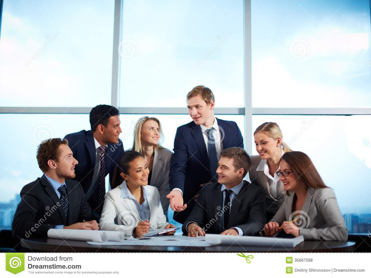 Discussing ideas stock photo image of idea cooperation for Group pics ideas