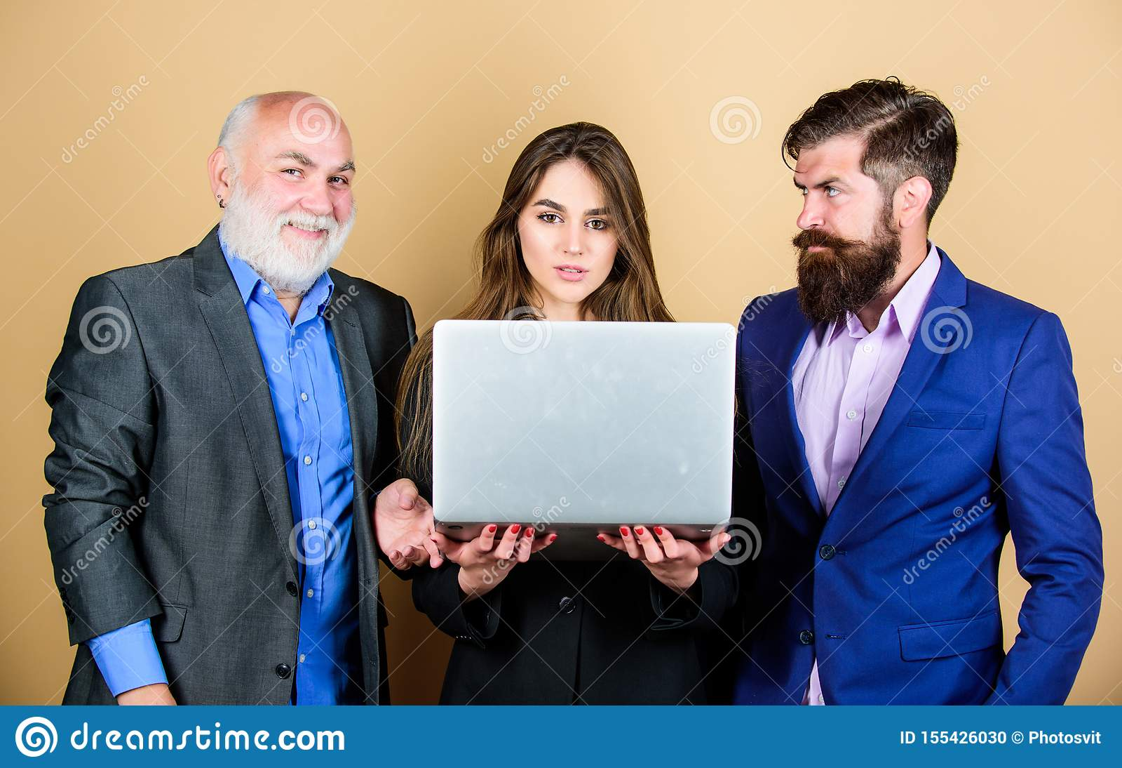 Discussing progress. Expert team. Business meeting. Men bearded manager show financial report laptop. Business plan