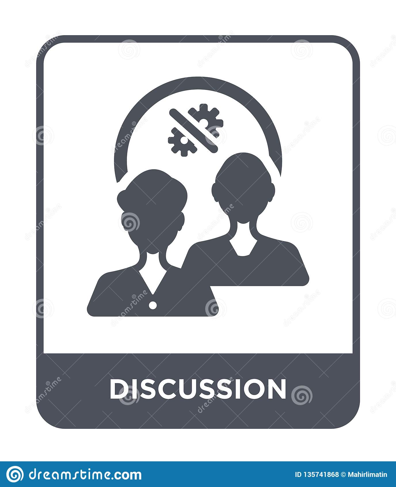 discussion icon in trendy design style. discussion icon isolated on white background. discussion vector icon simple and modern