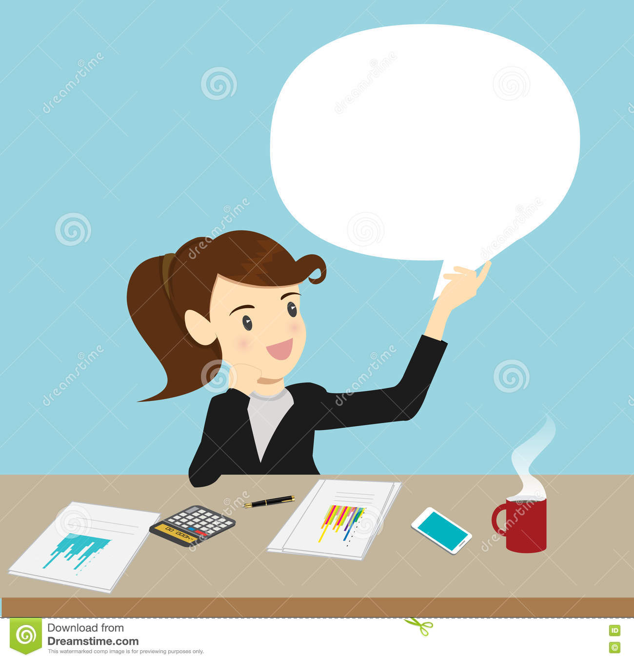 Discussion Speech Bubble Business. Cartoon Vector