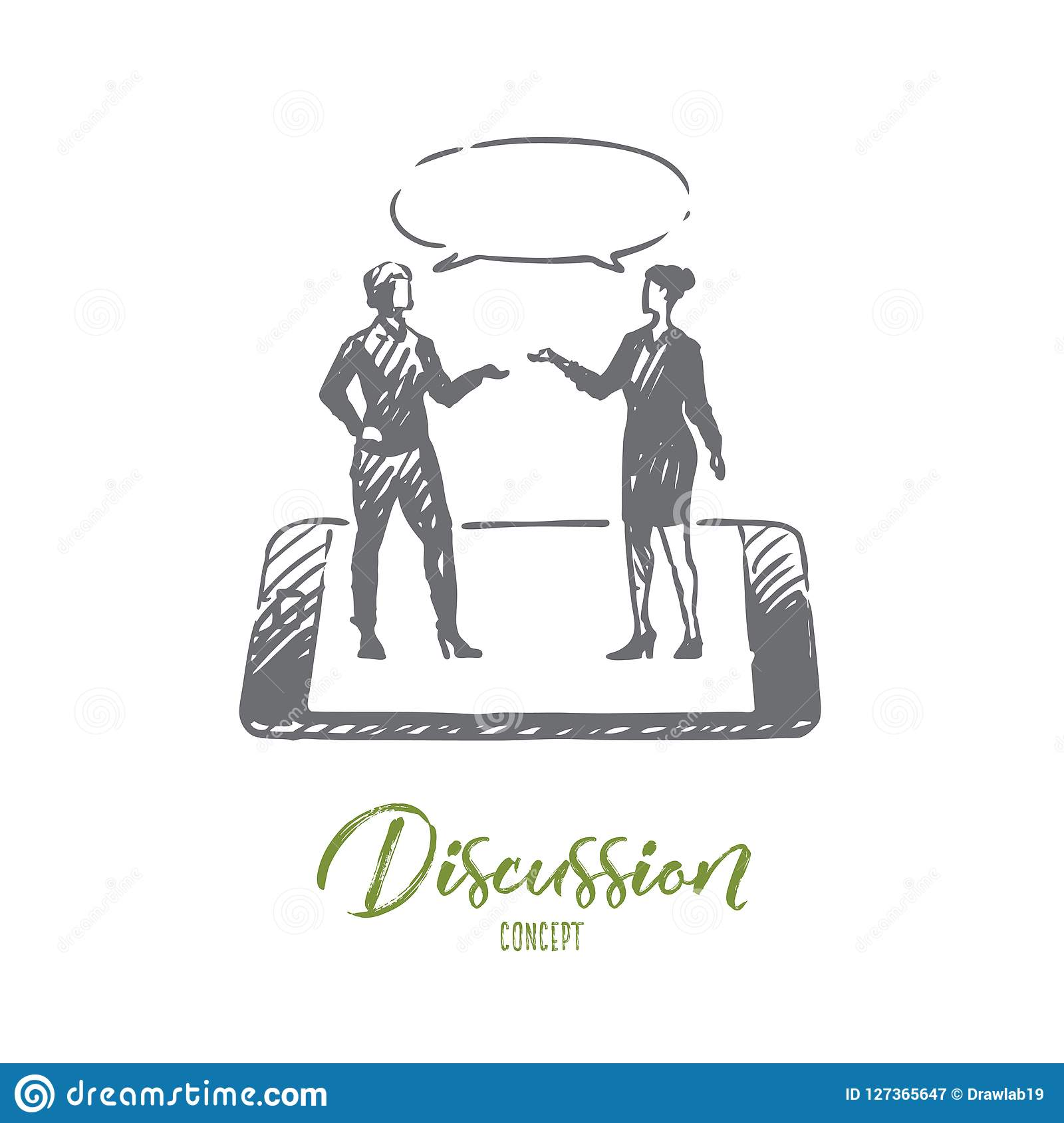 Discussion, talk, conversation, dialog, person concept. Hand drawn isolated vector.