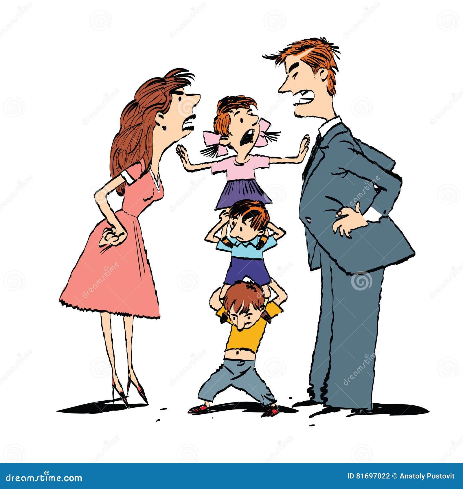Discuta na família, mamã e a luta do paizinho, crianças acalma-se