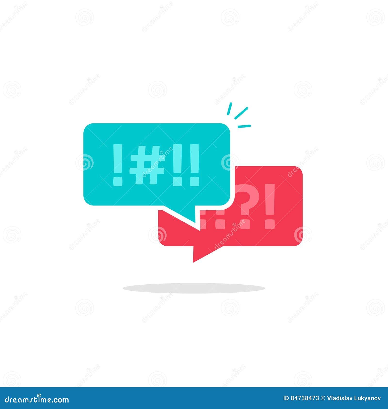 Discuta o vetor do ícone das bolhas do bate-papo, mensagens do argumento, discutindo a conversa dos pares