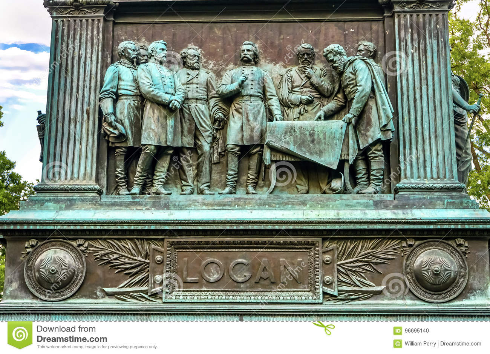 Discutindo a C.C. do general John Logan Civil War Memorial Washington de Stragegy