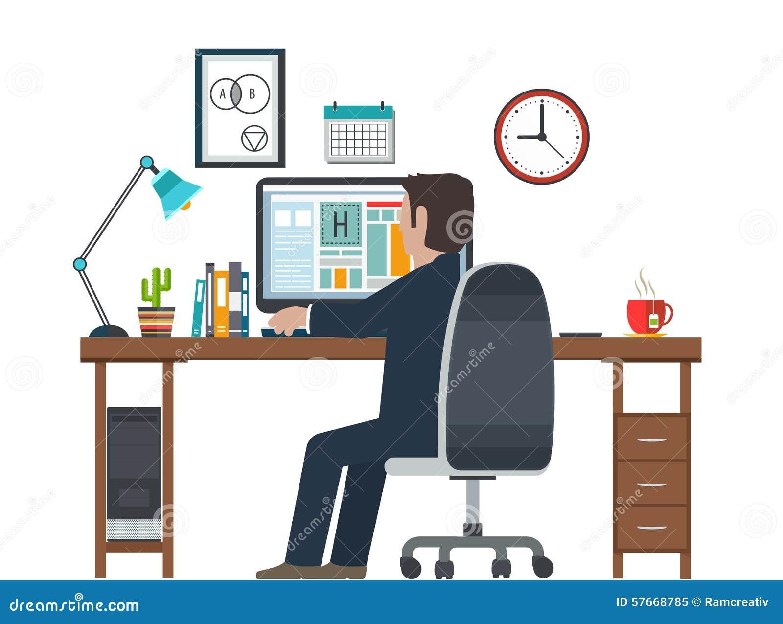 Dise ador en el lugar de trabajo puesto de trabajo equipo for Escritorio puesto de trabajo