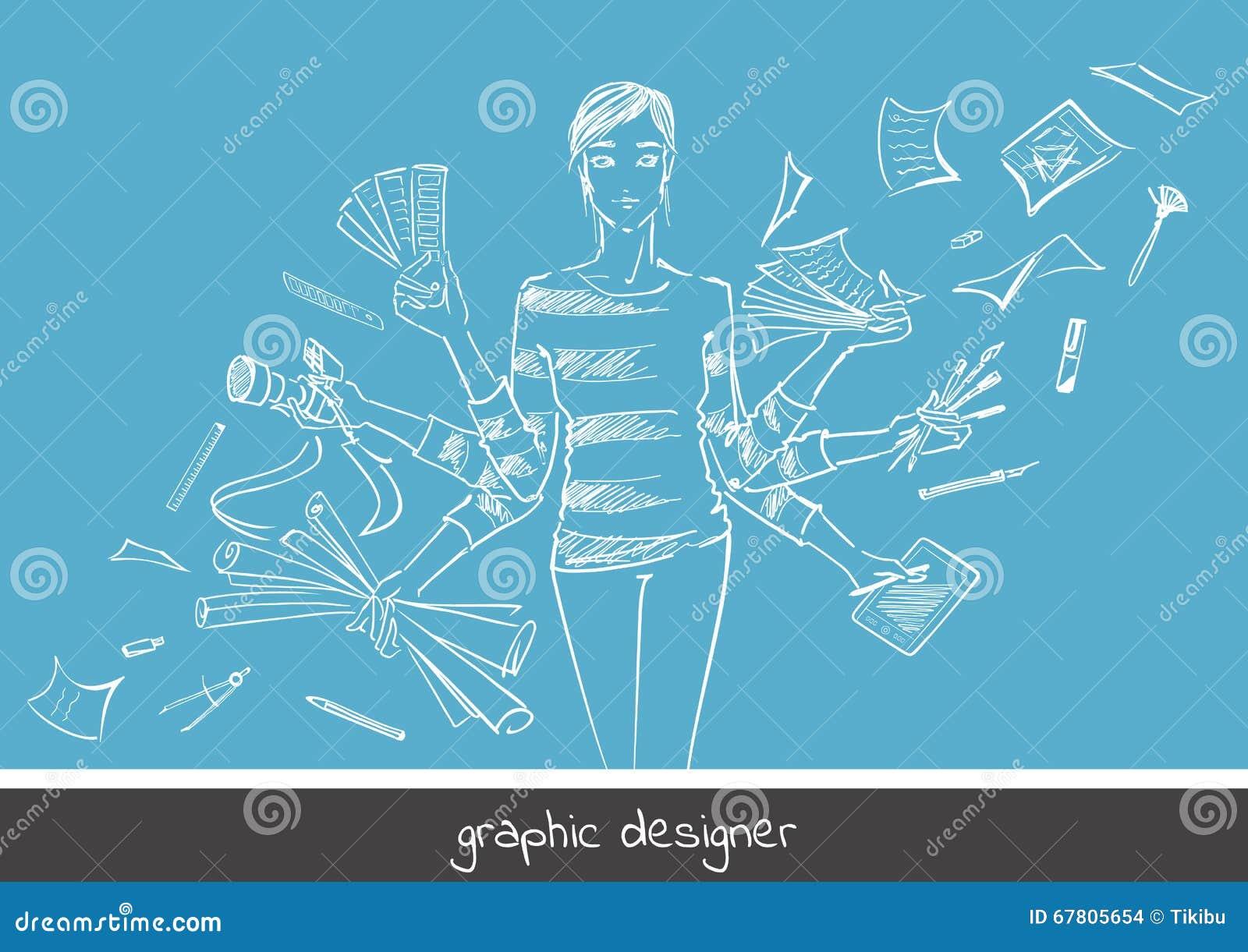Diseñador gráfico de la chica joven