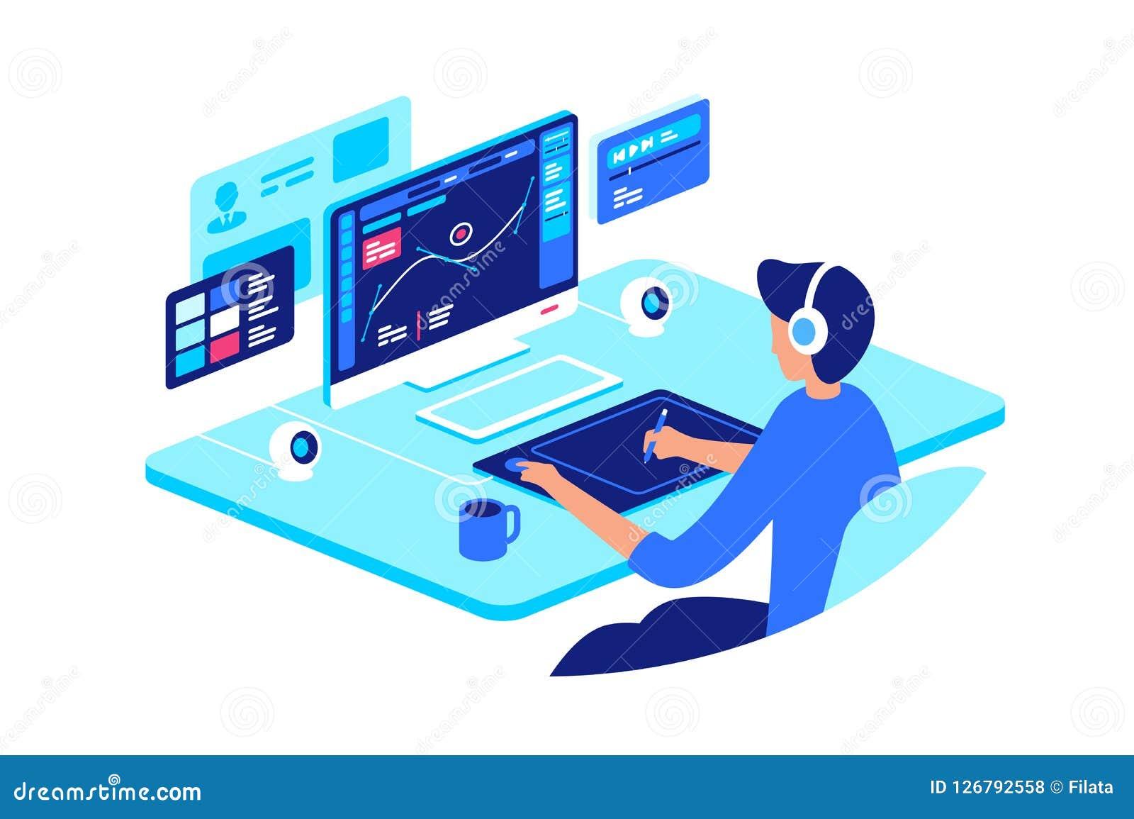 Diseñador gráfico en el trabajo con el equipo de alta tecnología