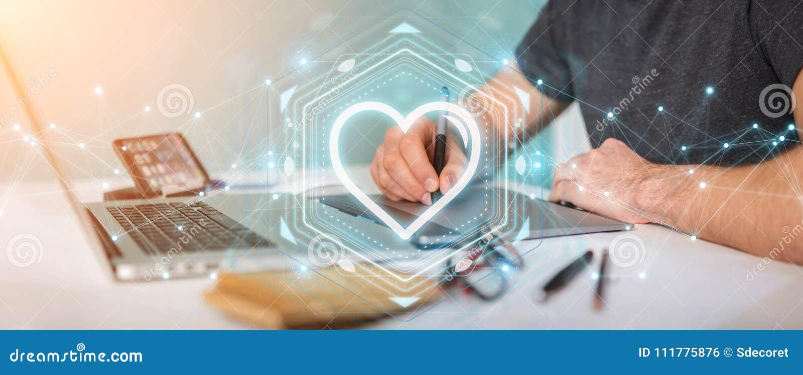 Diseñador gráfico que usa el uso de la datación para encontrar el amor 3D en línea