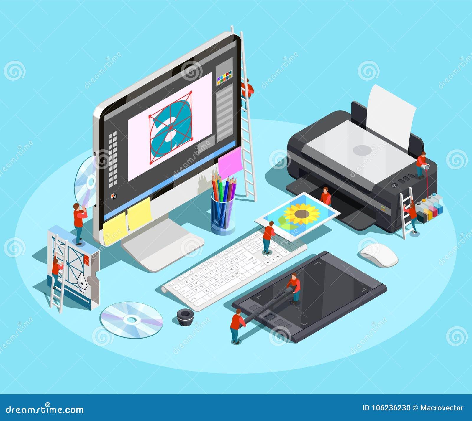 Diseñador gráfico Workspace Concept