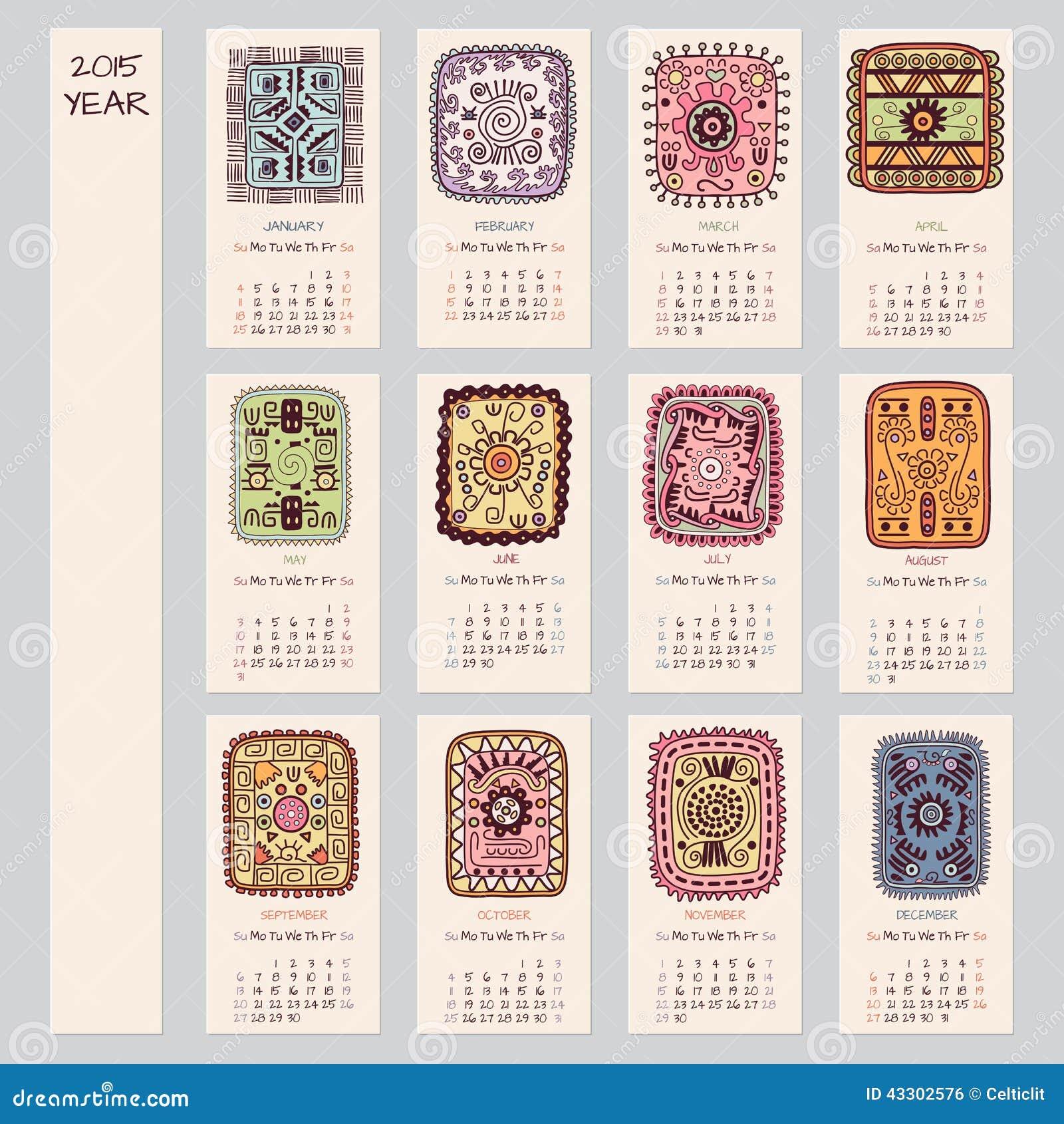 Diseño étnico del calendario de 2015 años