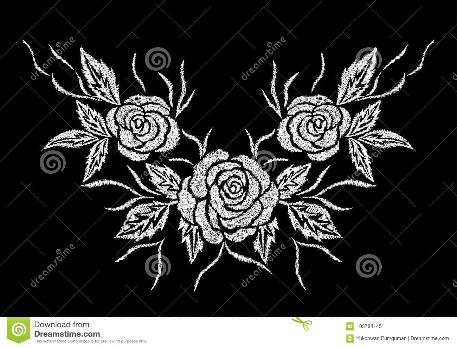 Diseño abstracto de las ilustraciones del bordado de la flor de la rosa del blanco para la ropa