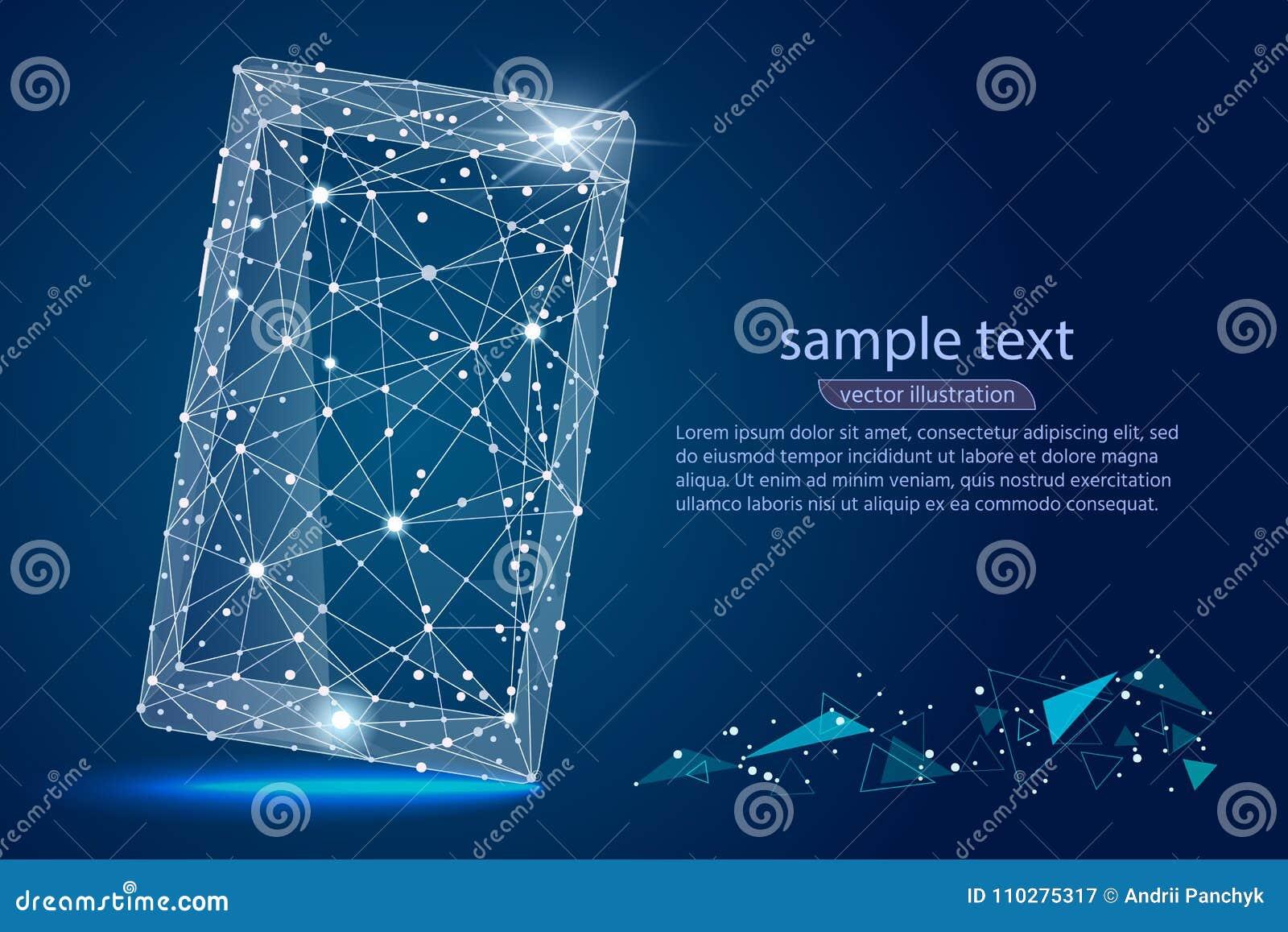 Diseño abstracto de smartphone del teléfono móvil aislado de wireframe polivinílico bajo en fondo del espacio Extracto del vector