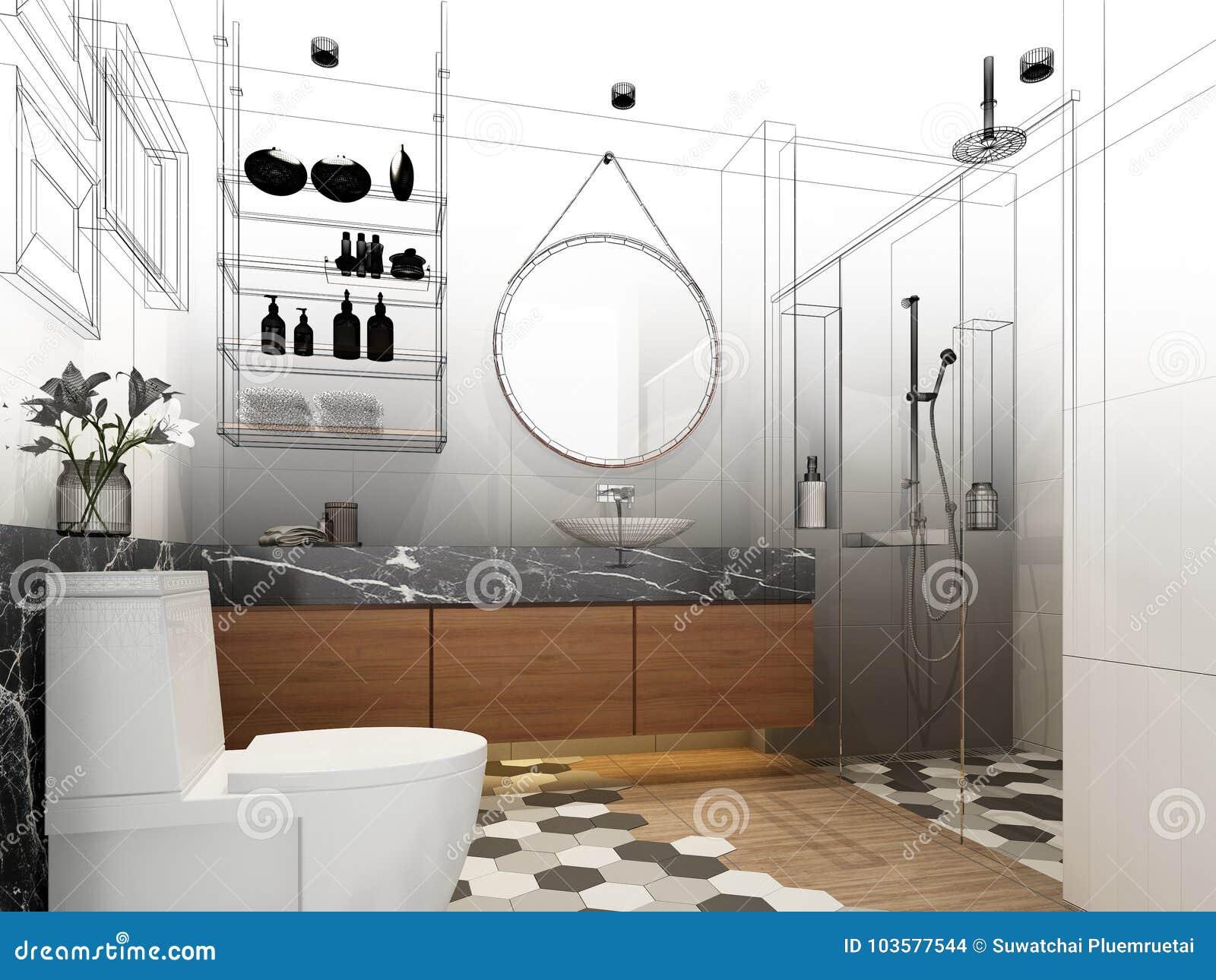 Diseño Abstracto Del Bosquejo De Cuarto De Baño Interior Stock de ...