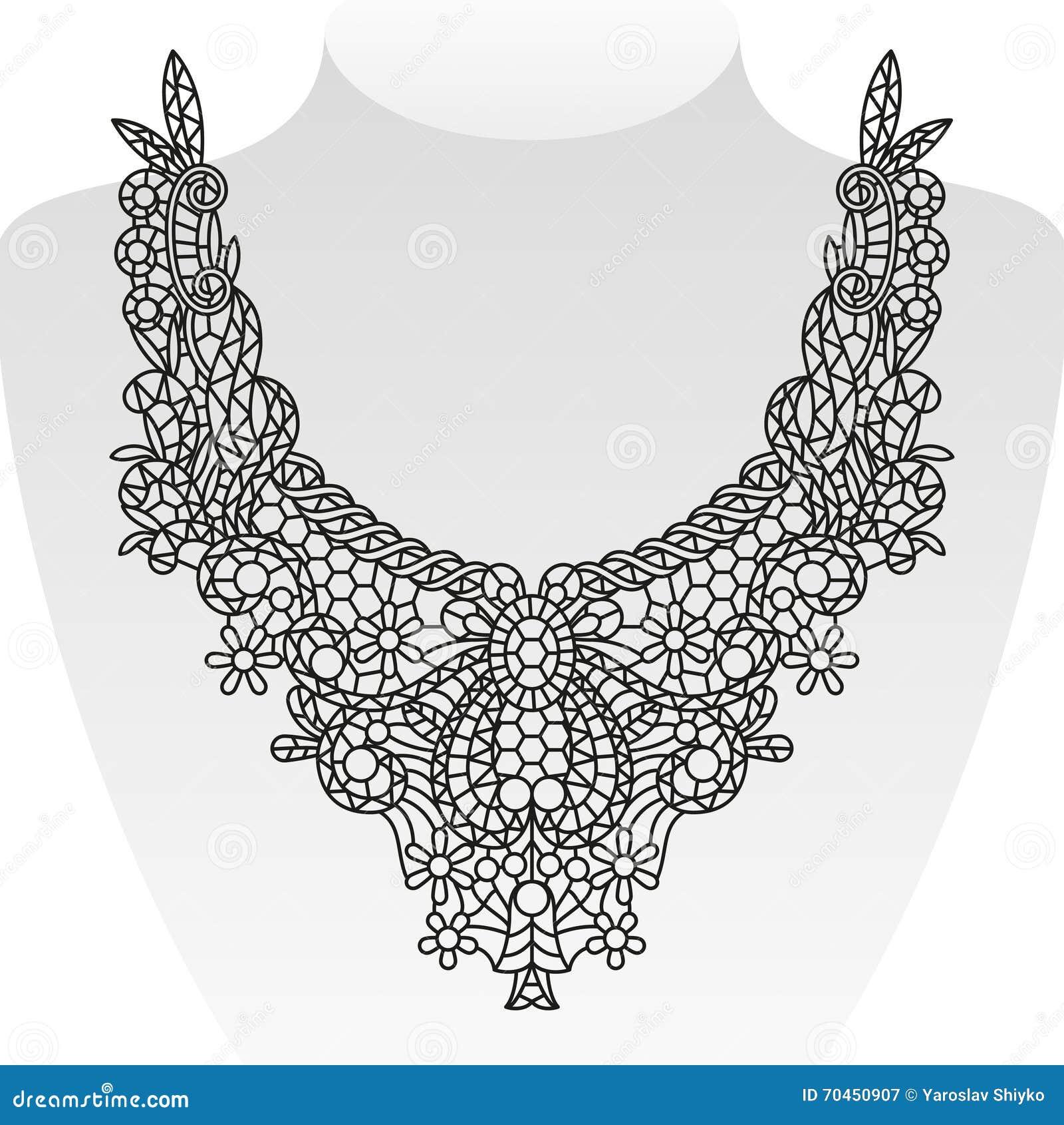 Diseño adornado del cuello Ilustración del vector