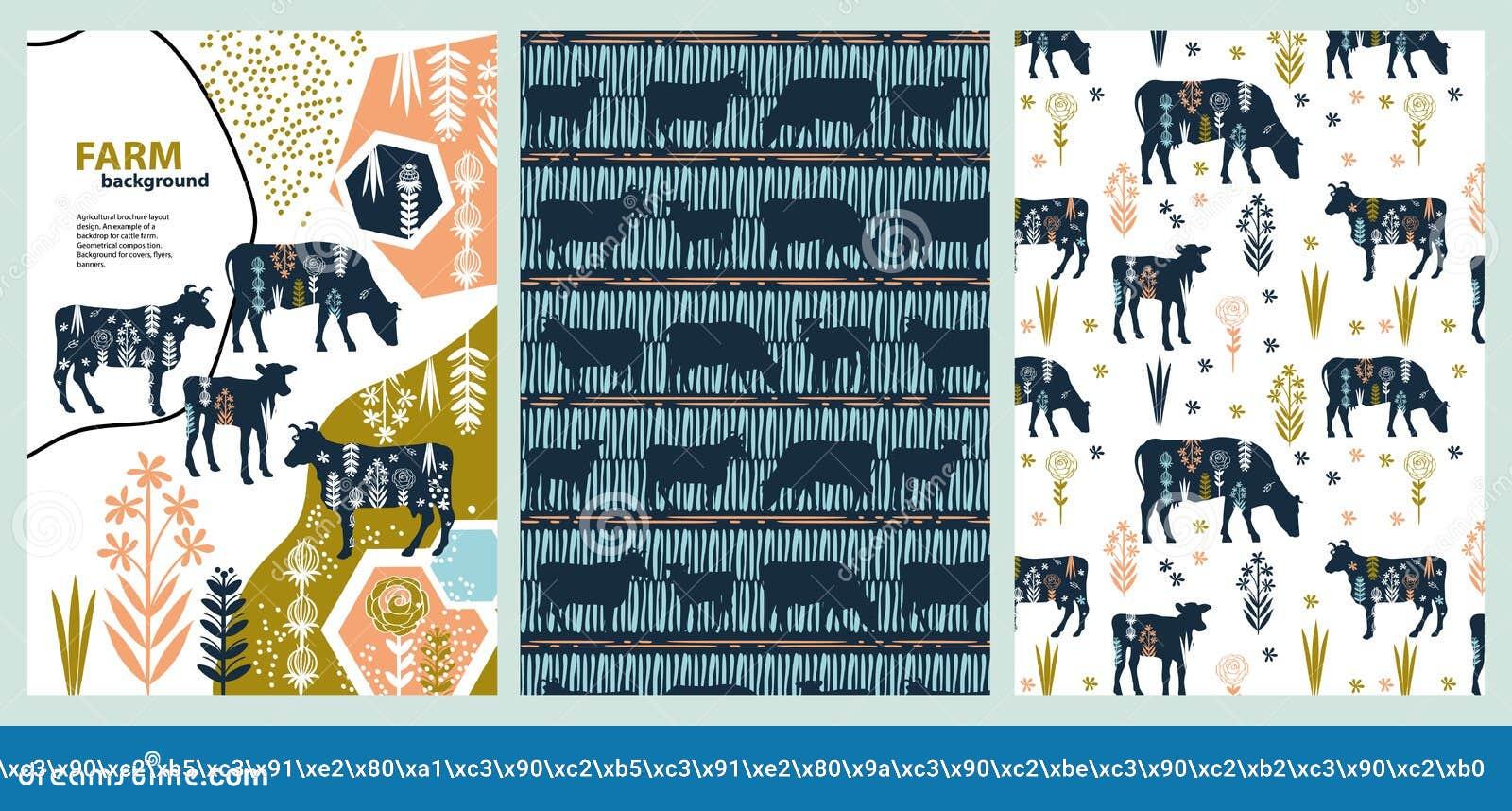 Diseño agrícola de la disposición del folleto Un ejemplo de un contexto para la granja de ganado composici?n geom?trica Fondo par