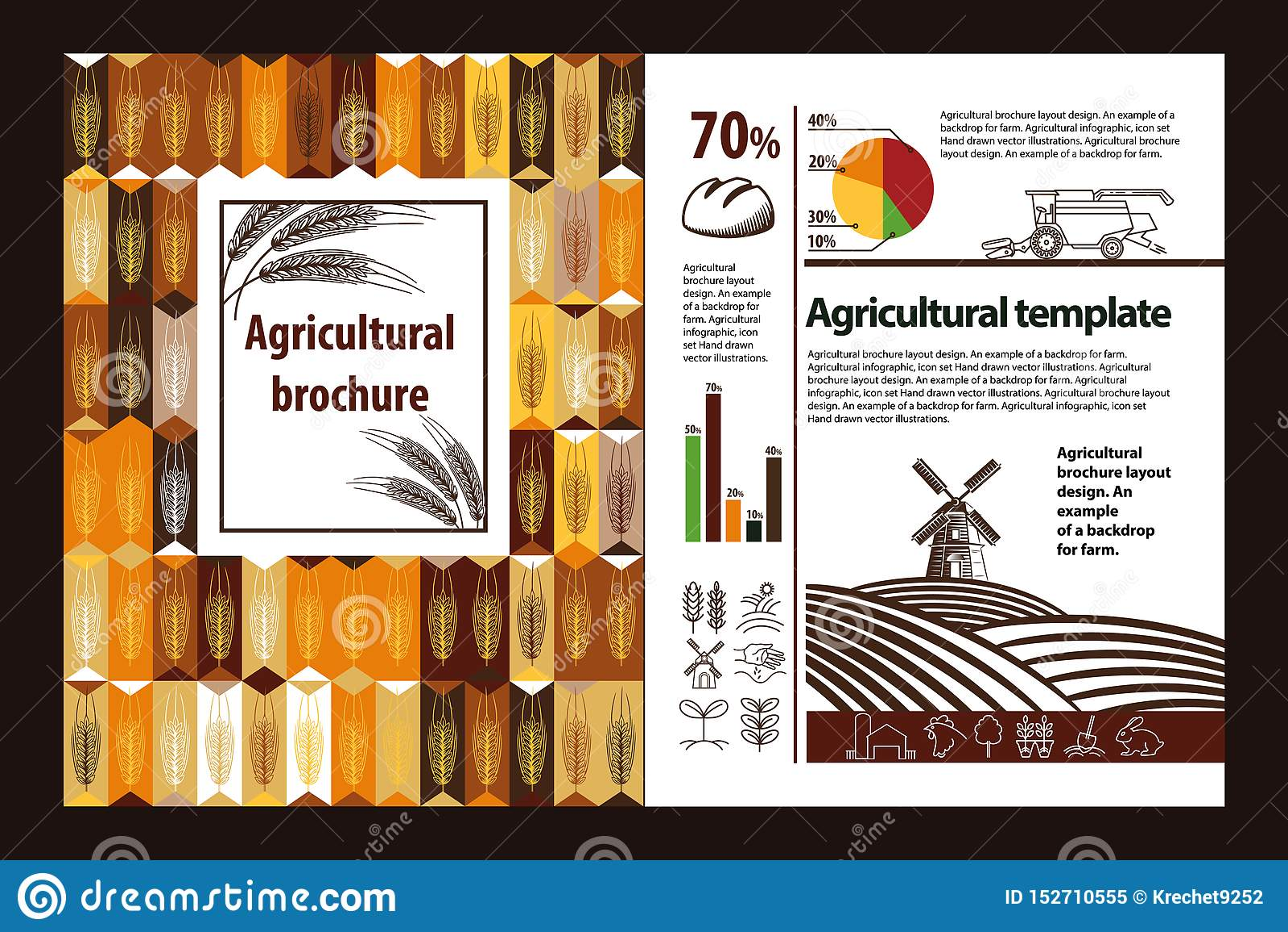 Diseño agrícola de la disposición del folleto Un ejemplo de un contexto para la granja Infographic agrícola, sistema del logotipo