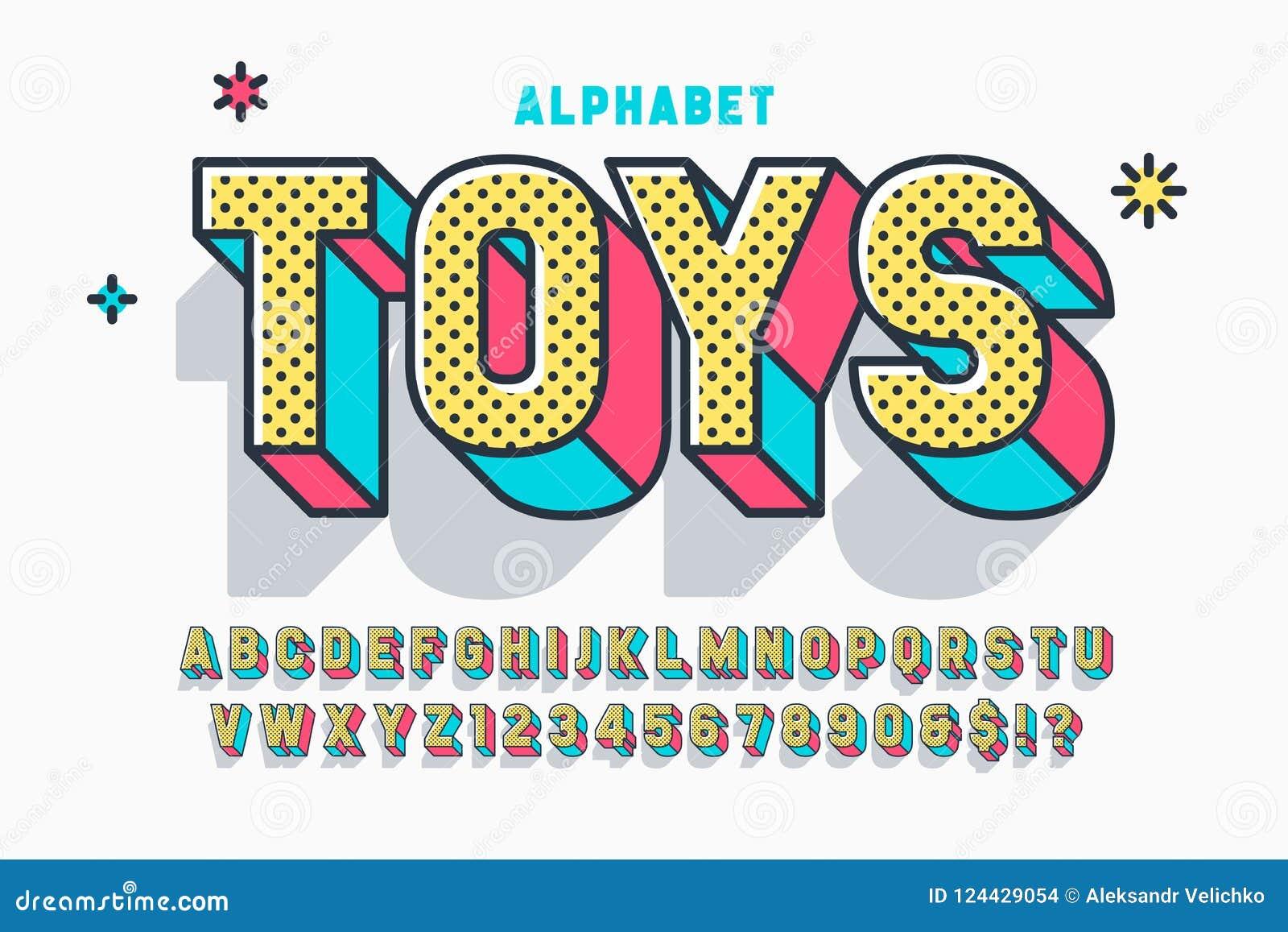 Diseño, alfabeto, letras y números cómicos de la fuente de la exhibición 3d