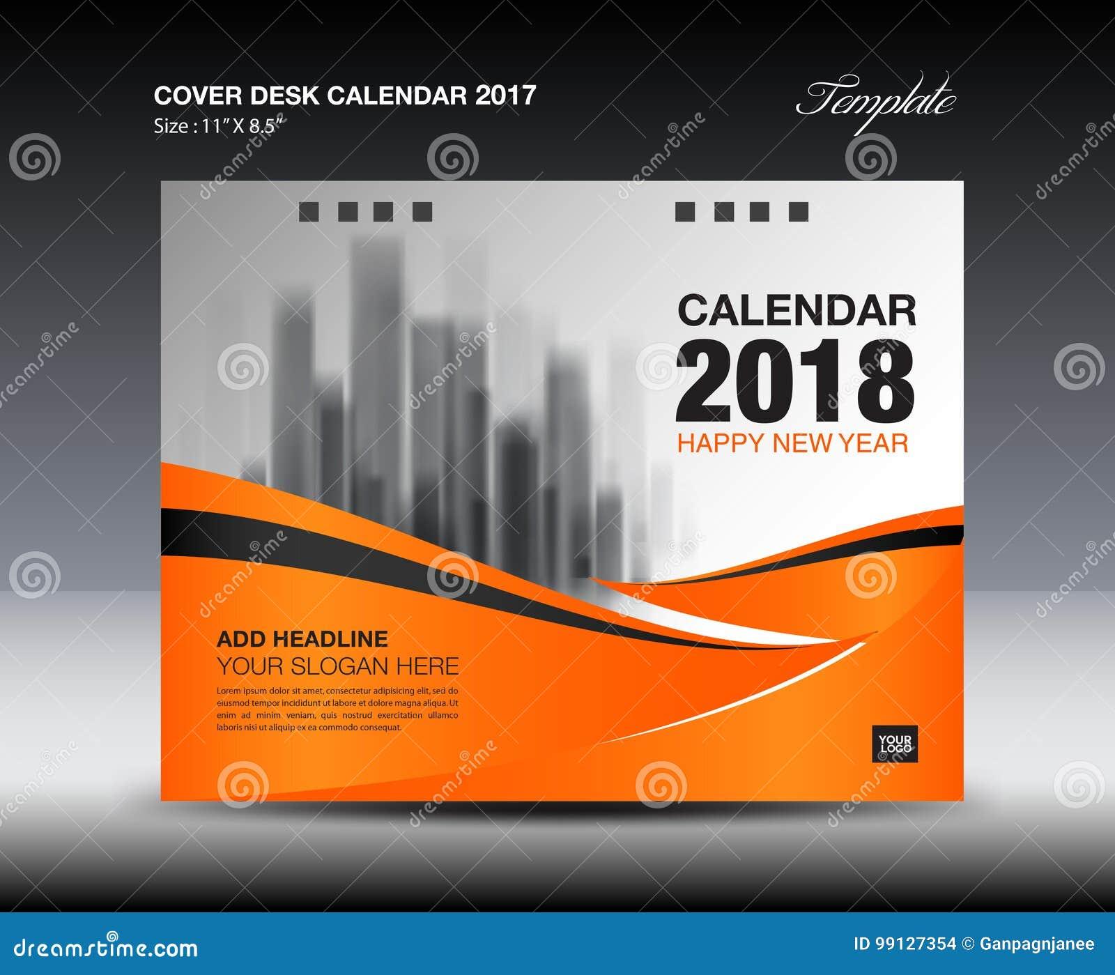 Diseño anaranjado del calendario de escritorio de la cubierta 2018, plantilla del aviador, anuncios