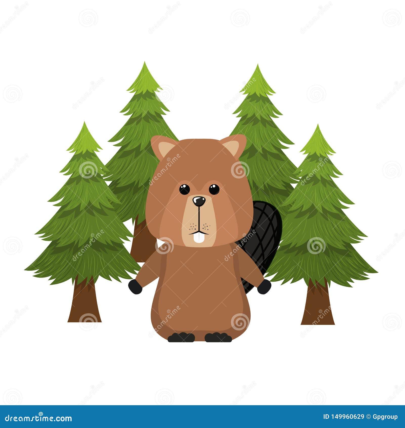 Diseño animal aislado del bosque del castor