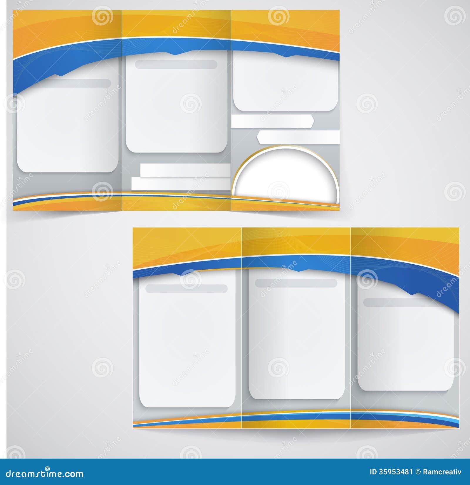 Diseño azul de la disposición del folleto del vector con el ele amarillo