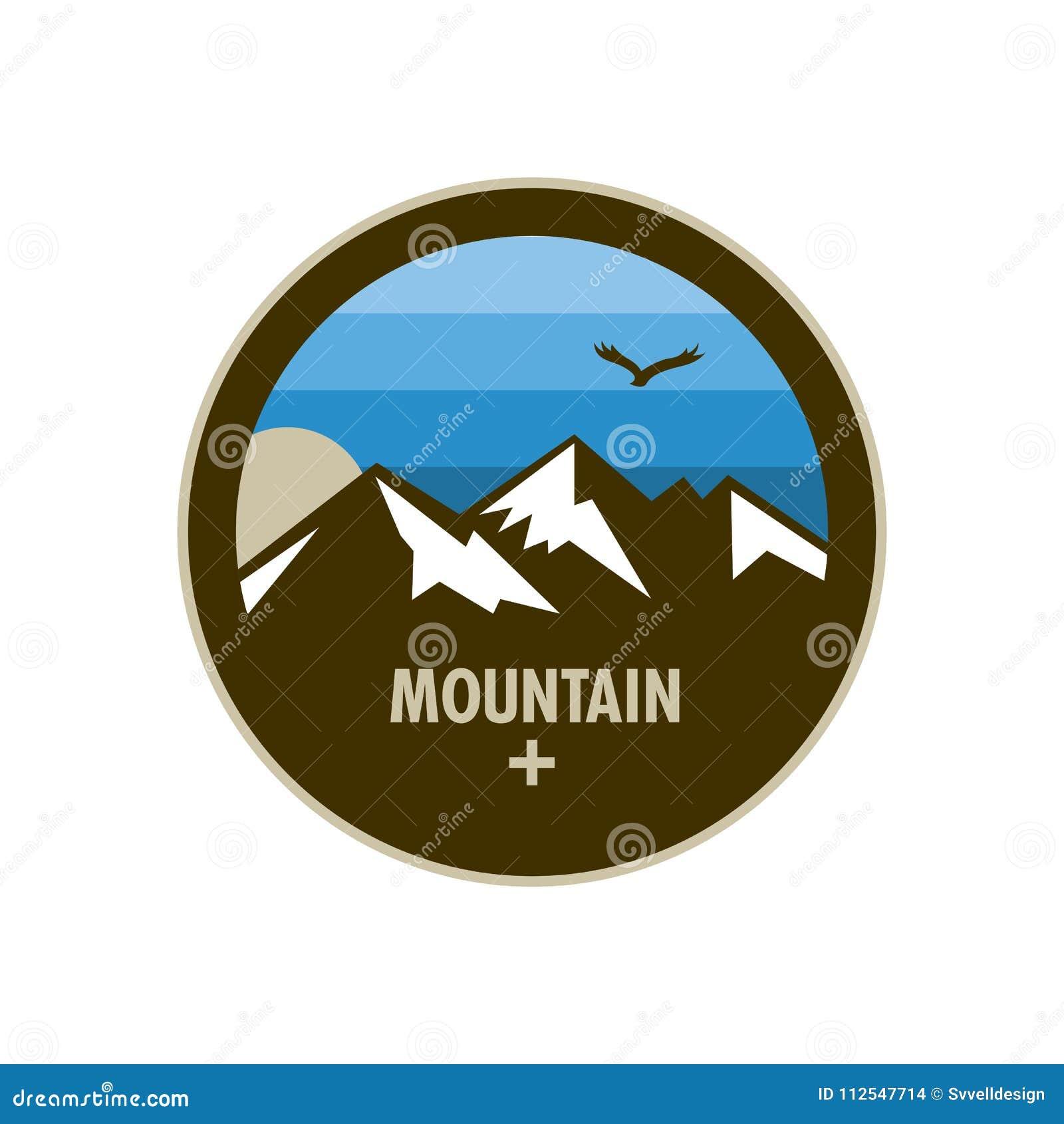 Diseño azul de la insignia del círculo de la aventura de la montaña del hielo