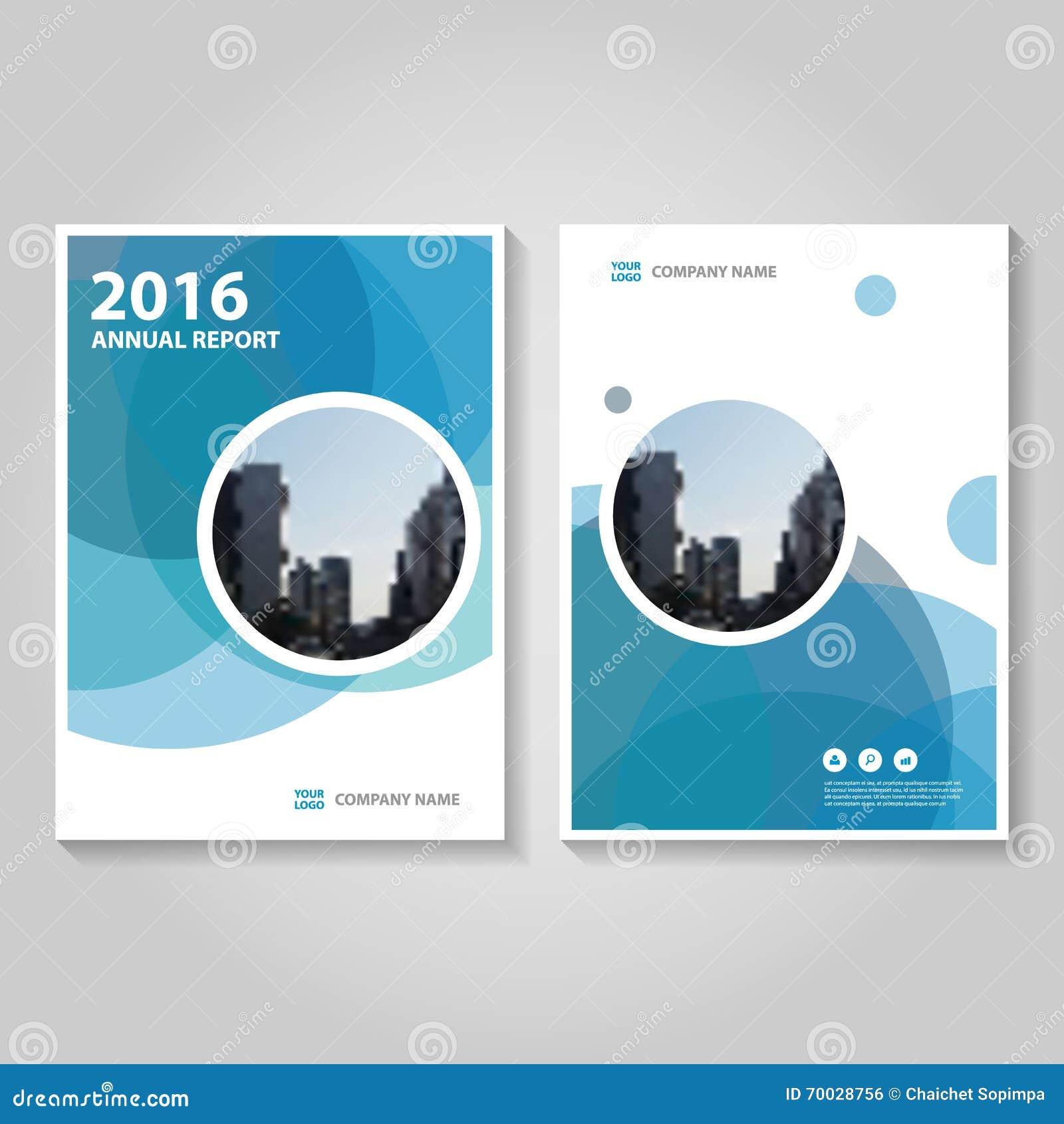 Diseño azul de la plantilla del aviador del folleto del prospecto del informe anual del hexágono del círculo, diseño de la dispos