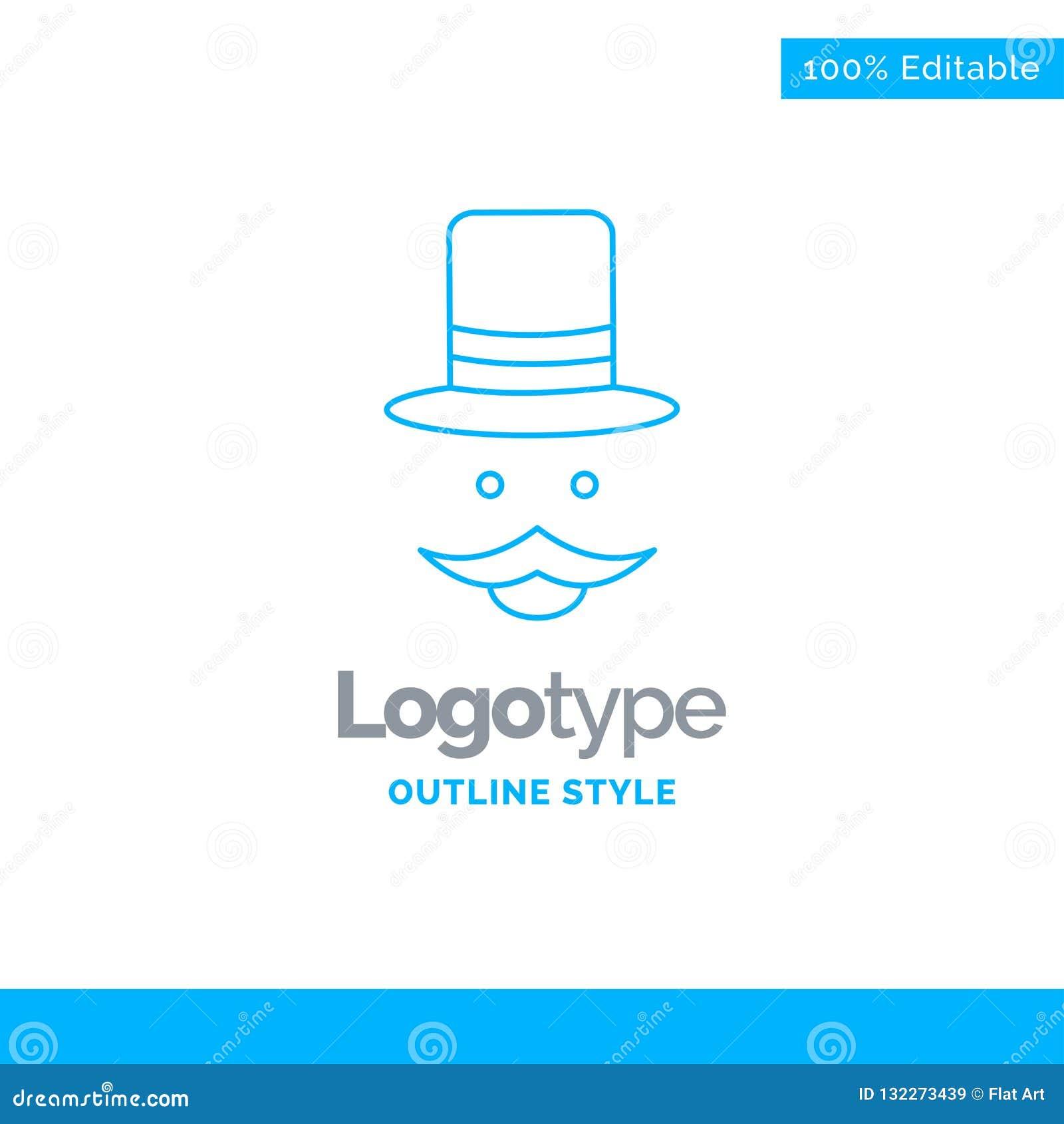 Diseño azul del logotipo para el bigote, inconformista, movember, sombrero, hombres megabus