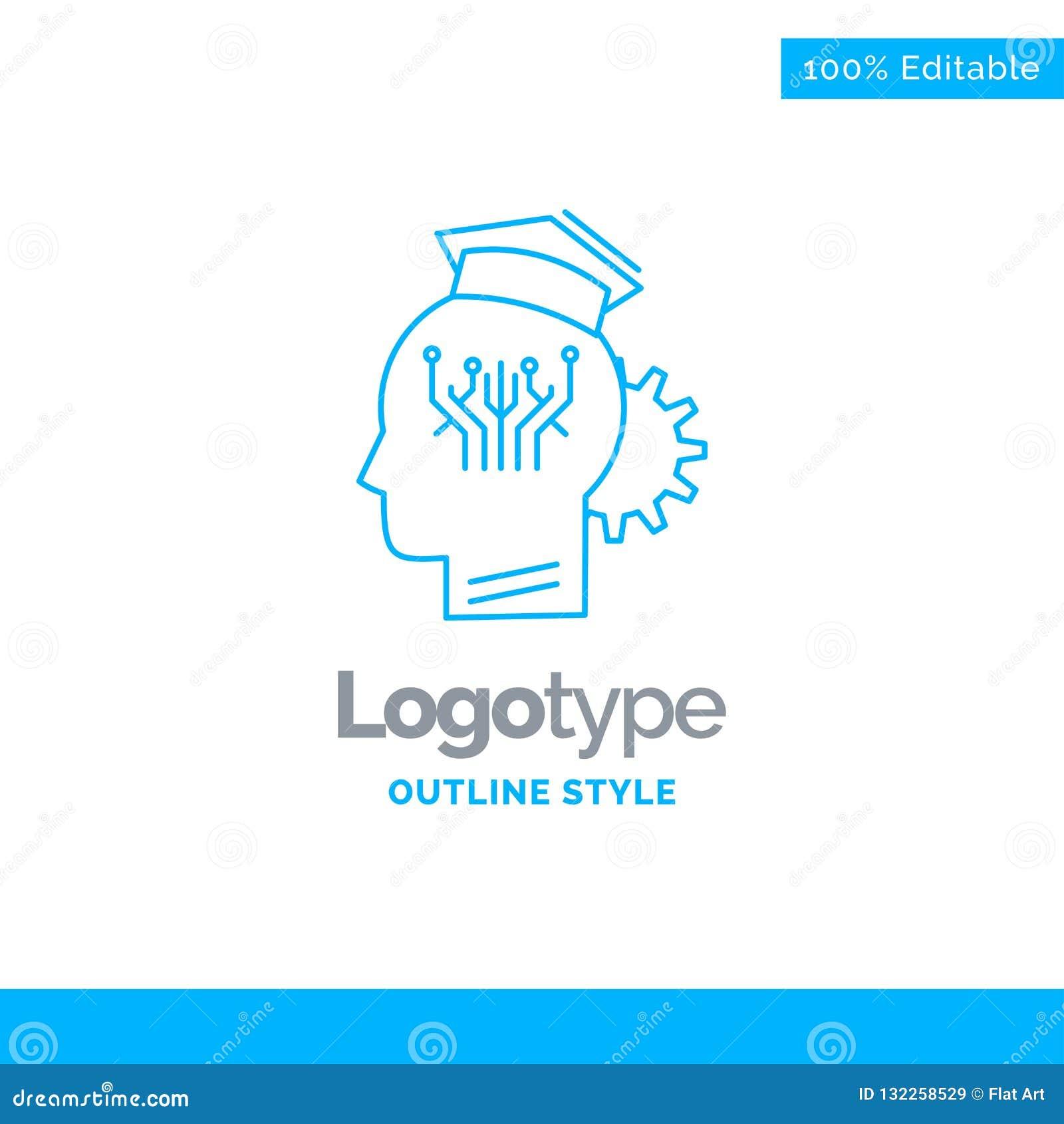 Diseño azul del logotipo para el conocimiento, gestión, distribución, elegante, tecnología