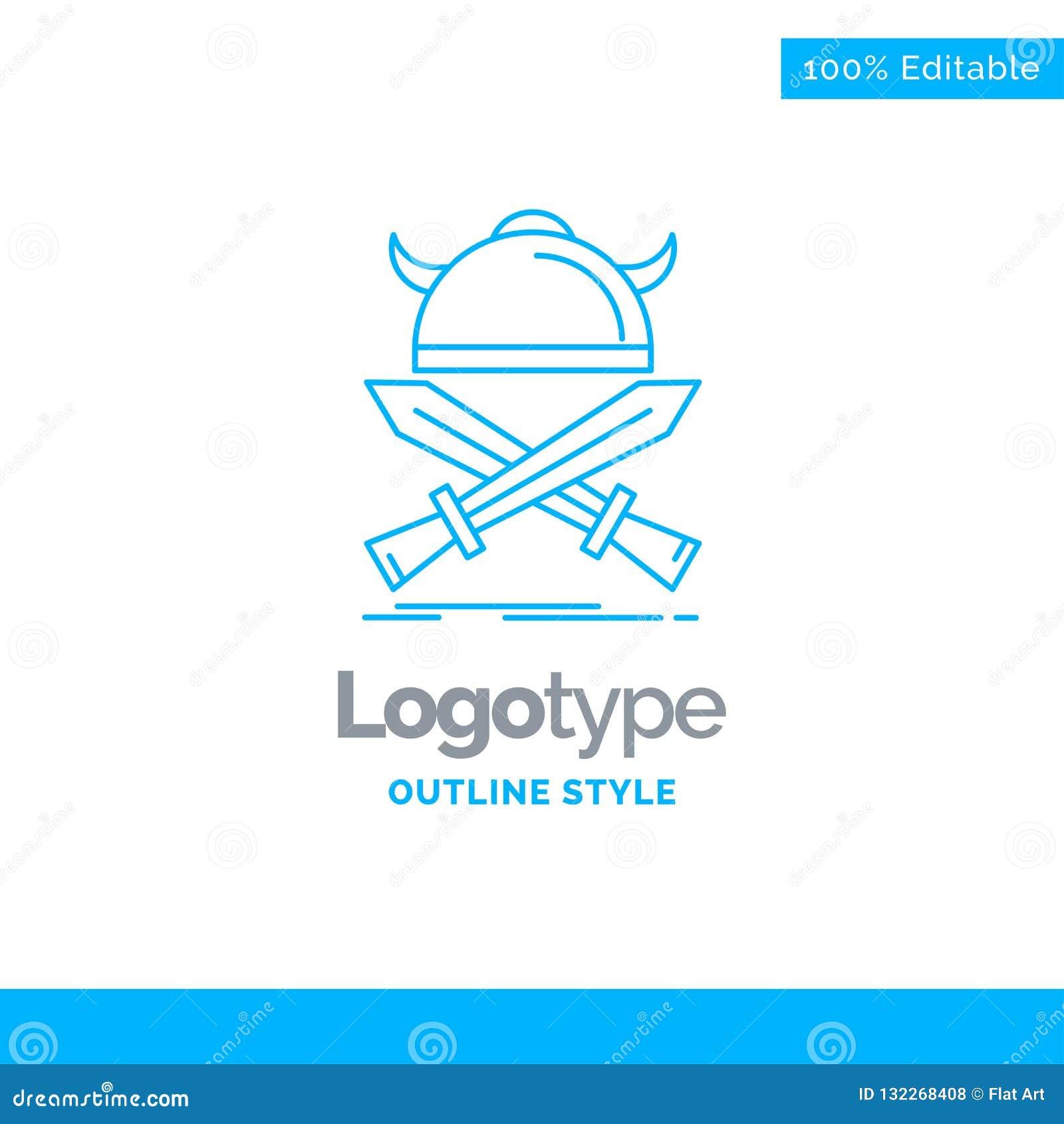 Diseño azul del logotipo para la batalla, emblema, vikingo, guerrero, espadas BU