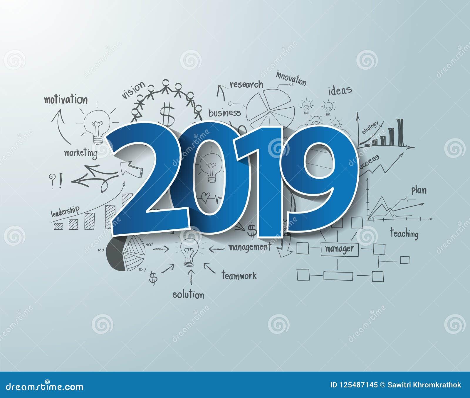 Diseño azul del texto de la etiqueta 2019 de las etiquetas en cartas y gráficos del dibujo del pensamiento creativo