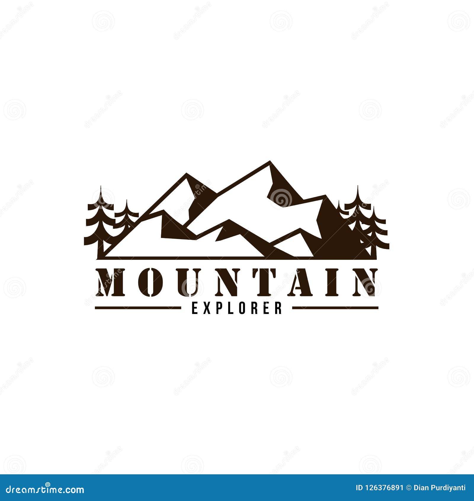 Diseño blanco y negro de Adventure Badge Vector del explorador de la montaña