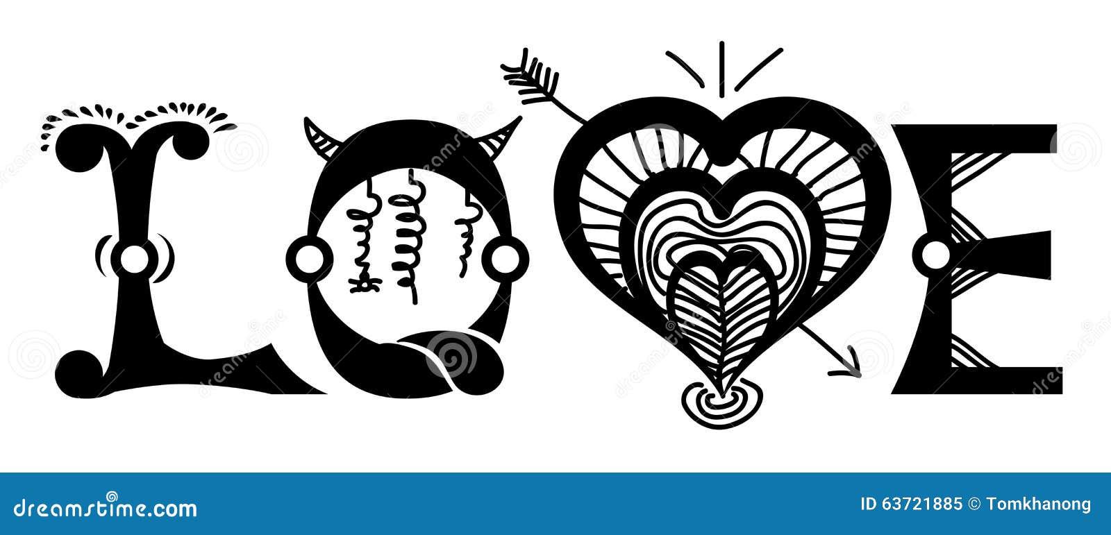 Diseño Blanco Y Negro Del Vector De La Tipografía Del Amor
