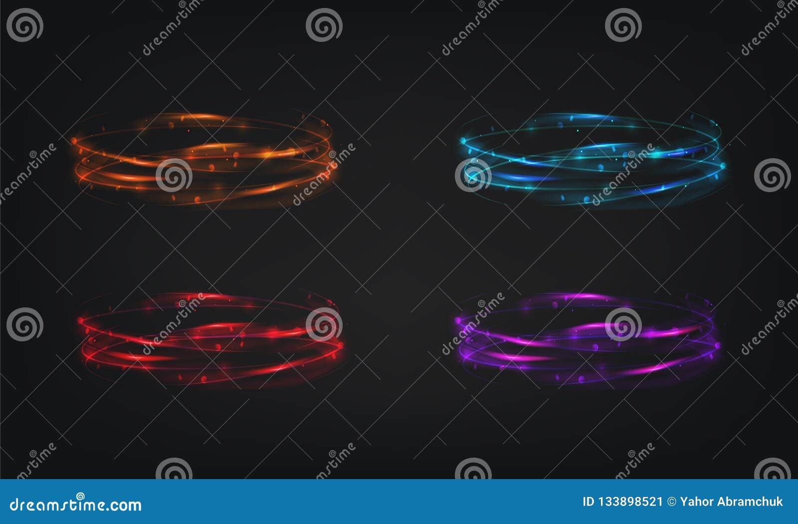 Diseño brillante abstracto del ejemplo del brillo del efecto de los anillos del vector del resplandor ligero brillante mágico del