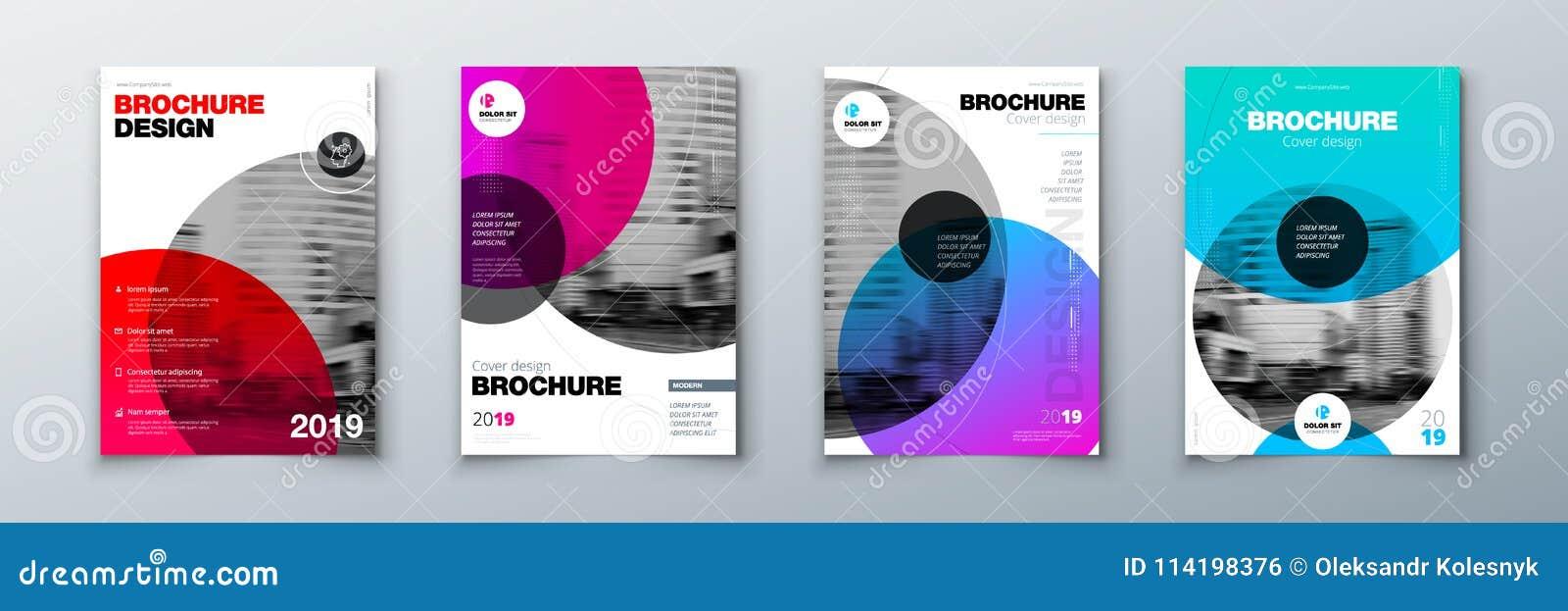 Diseño brillante de la cubierta del folleto del círculo Disposición de la plantilla para el informe anual, la revista, el catálog