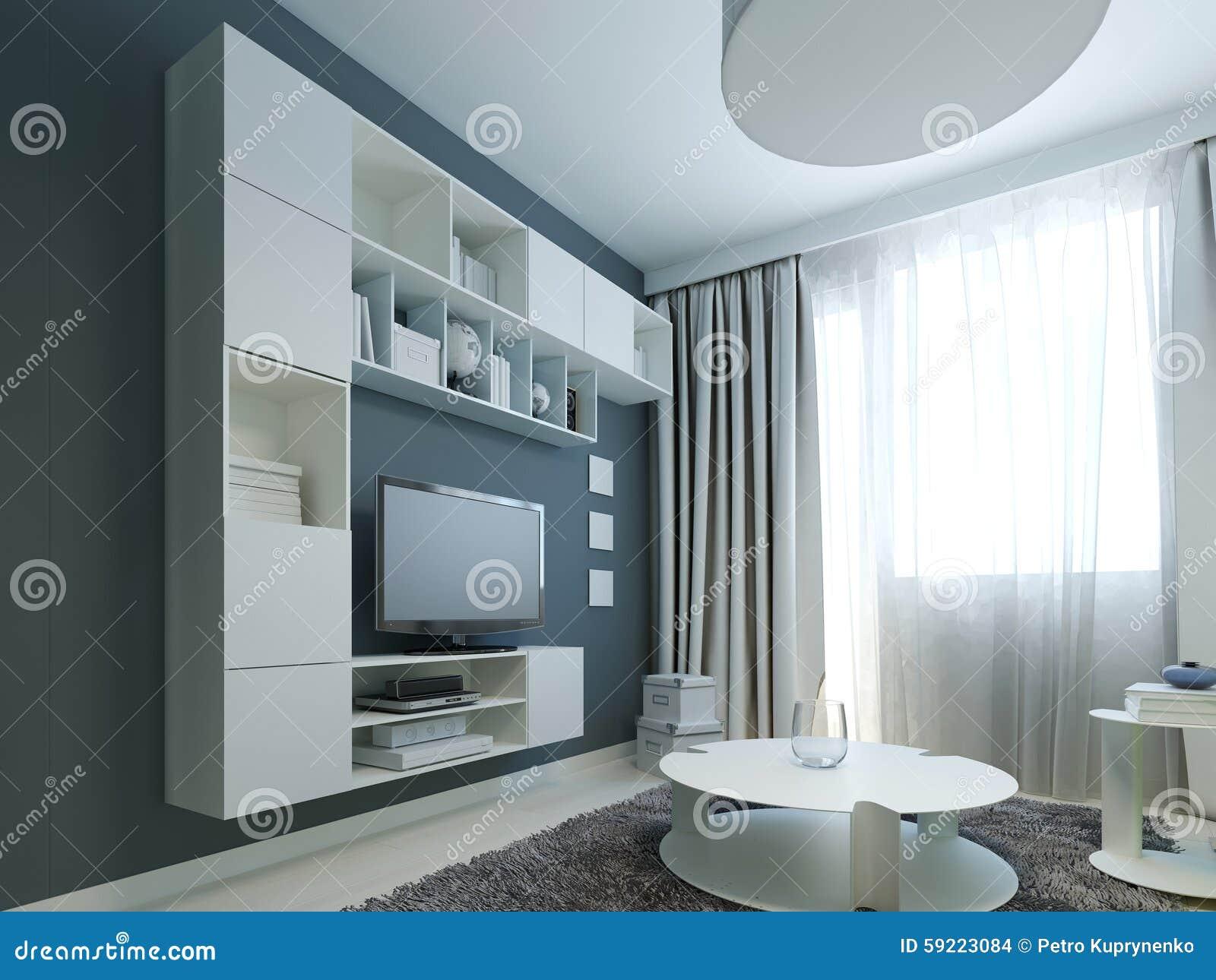 diseo brillante de saln moderno con los muebles blancos