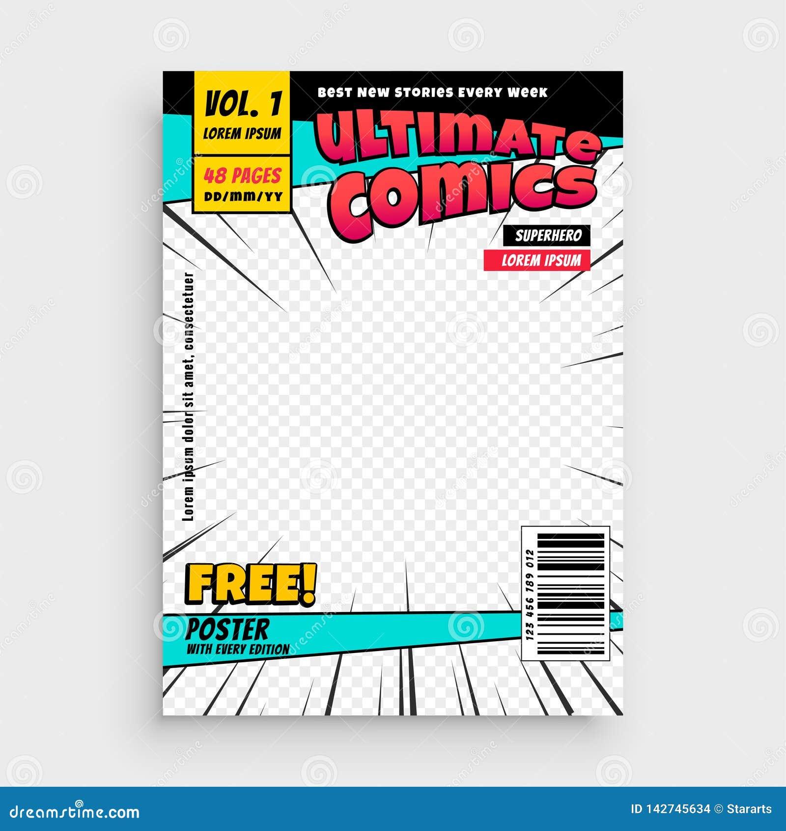 Diseño cómico de la disposición de portada de la revista