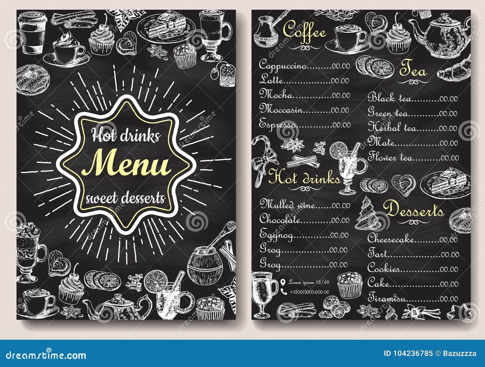 Diseño Caliente Del Menú De Las Bebidas Del Restaurante Con El Fondo ...