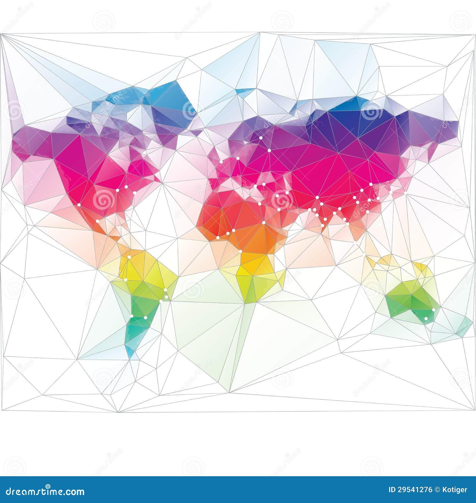 Diseño Coloreado Del Triángulo Del Mapa Del Mundo Ilustración del ...